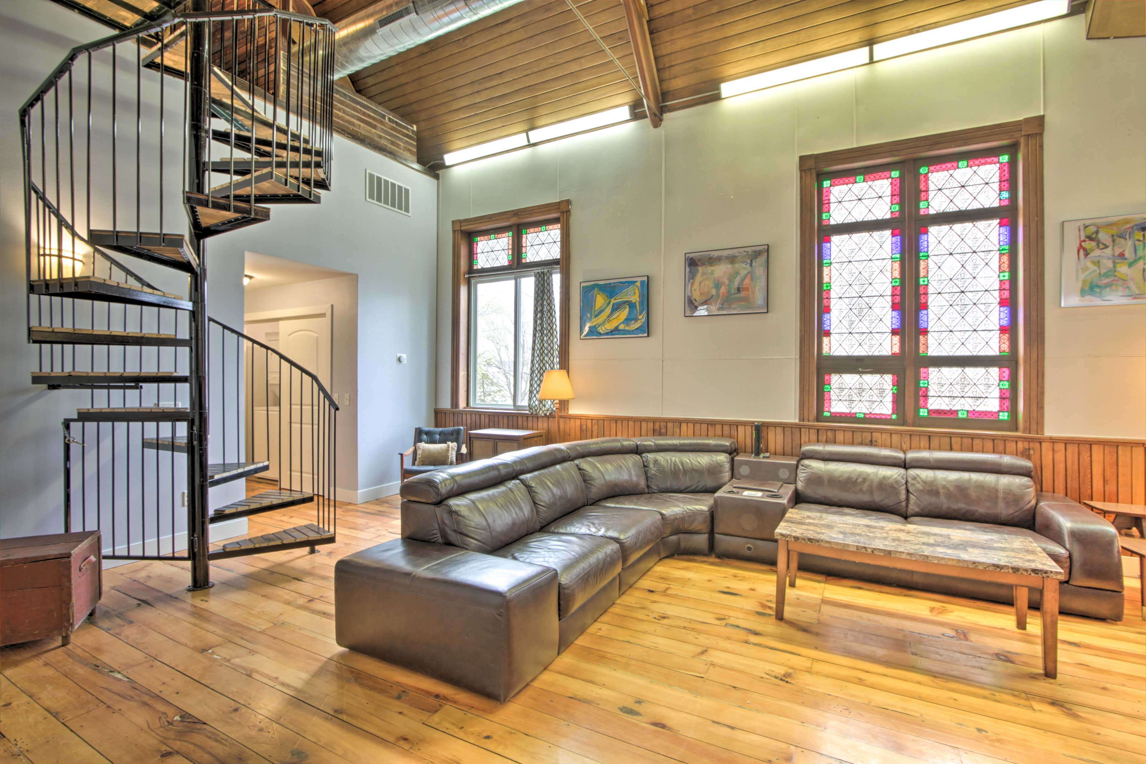 Main Living Space | Original Stained Glass Throughout