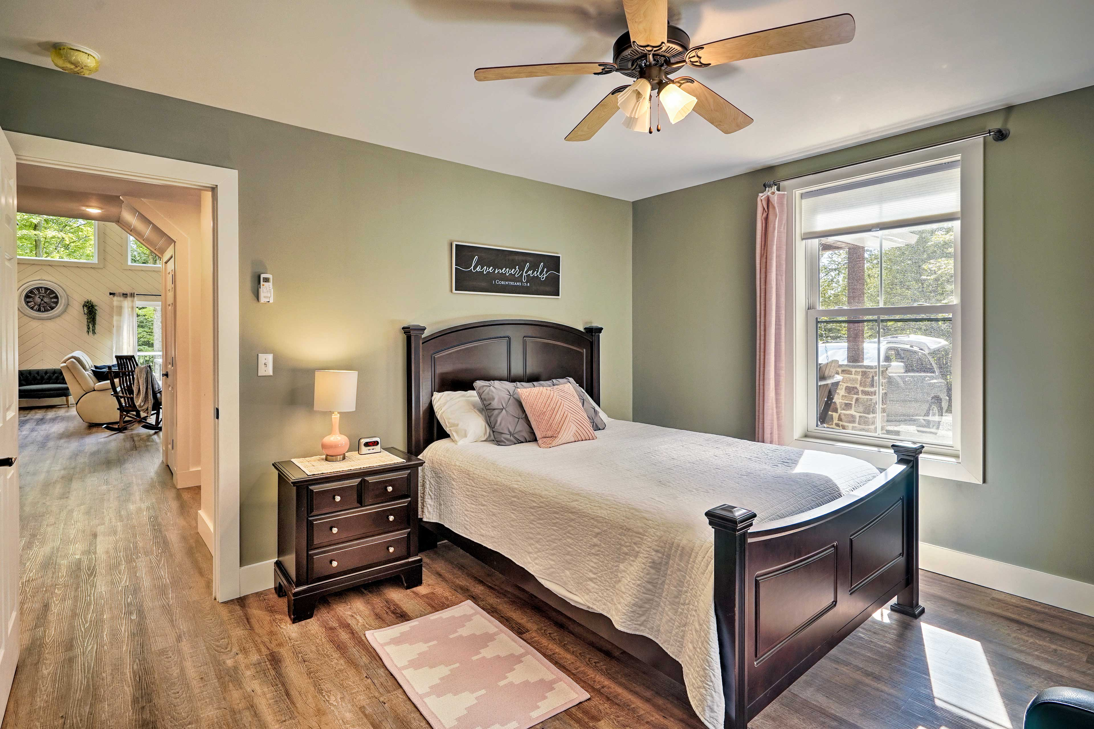 Retreat to this cozy queen bed or sleeper sofa after a day at the wineries!