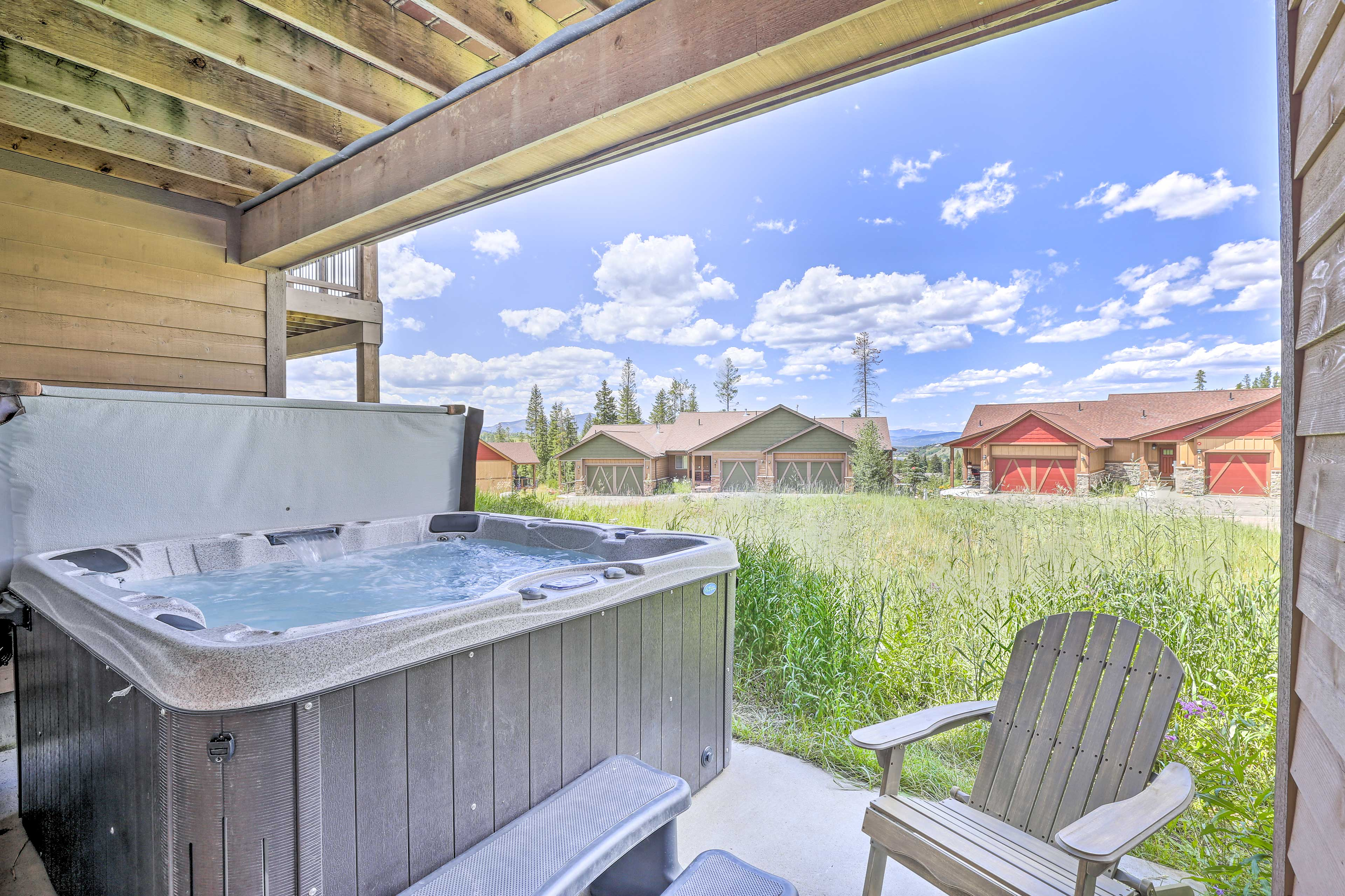 Breathe in the mountain air while you soak tired muscles in the hot tub.