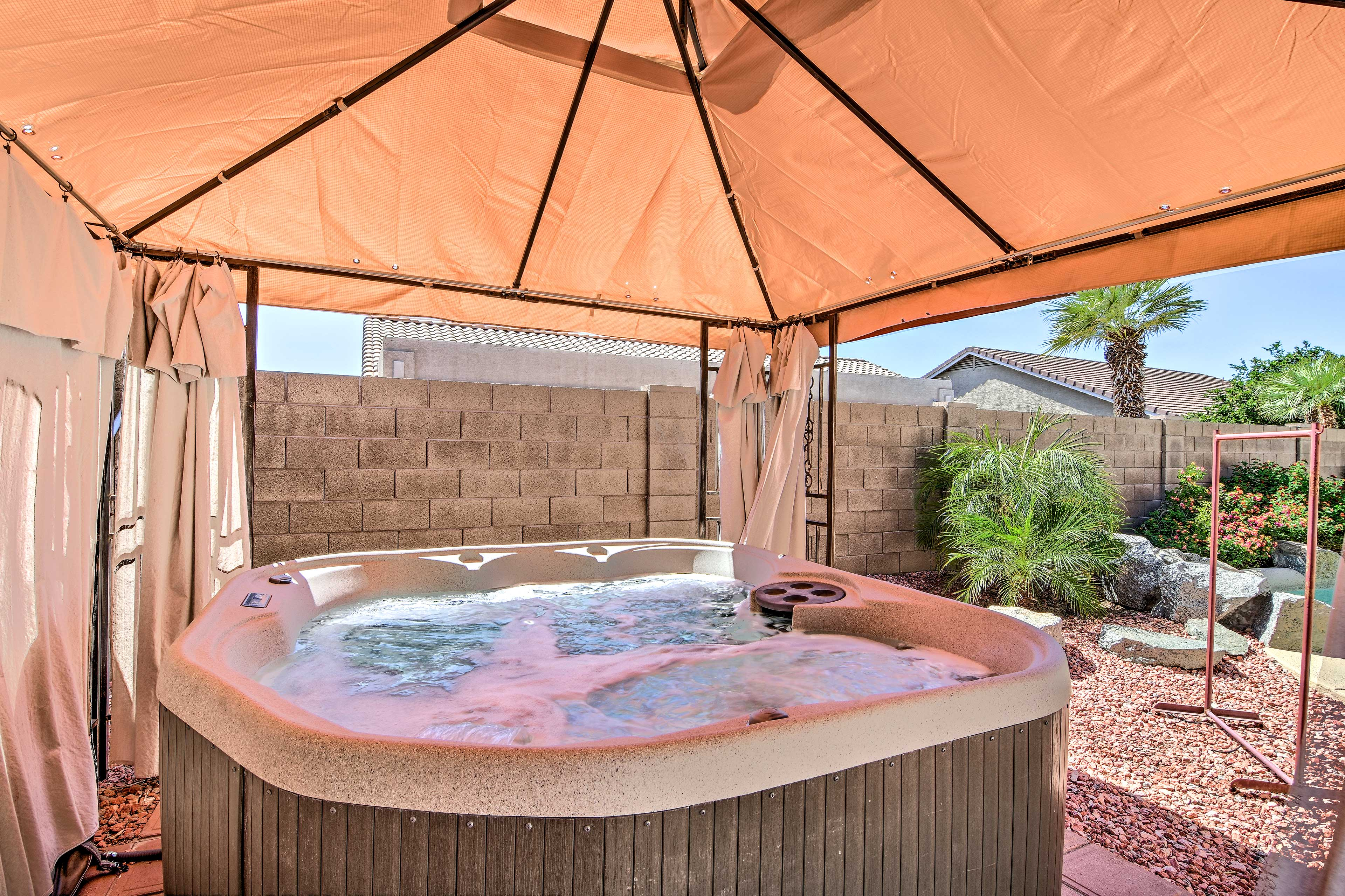 Soak away all your worries in the hot tub.