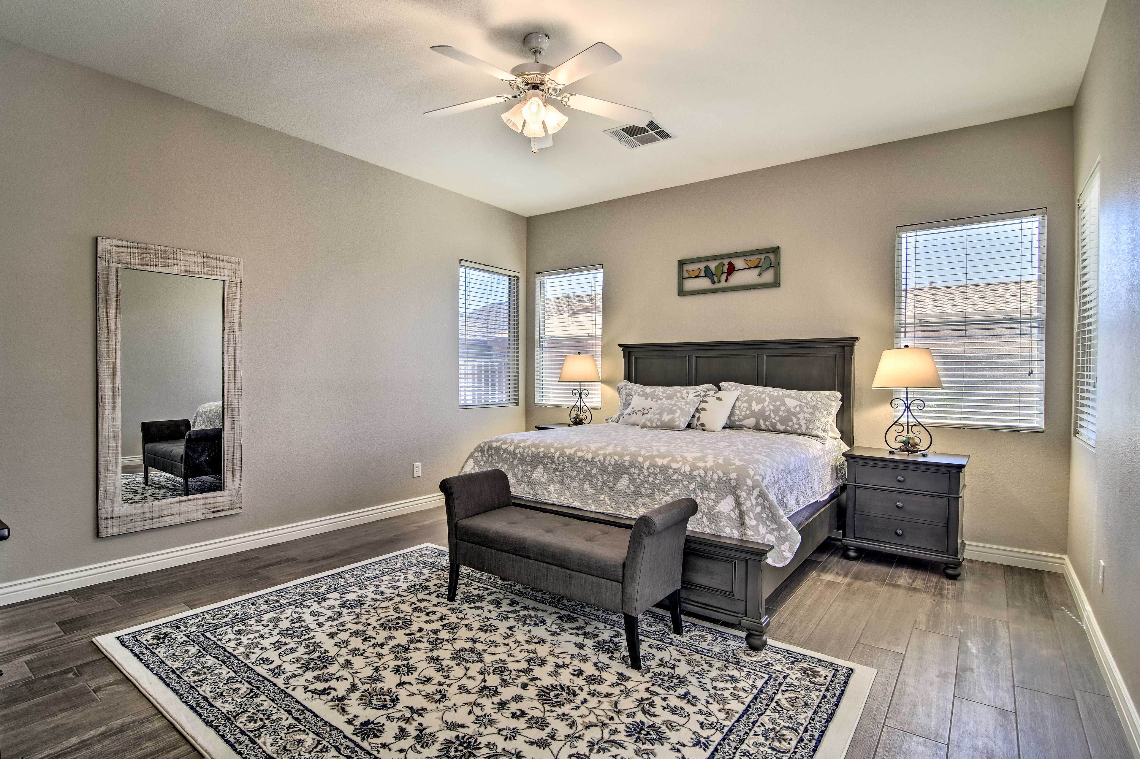 Sleep like a baby on the king-sized mattress in the master bedroom.