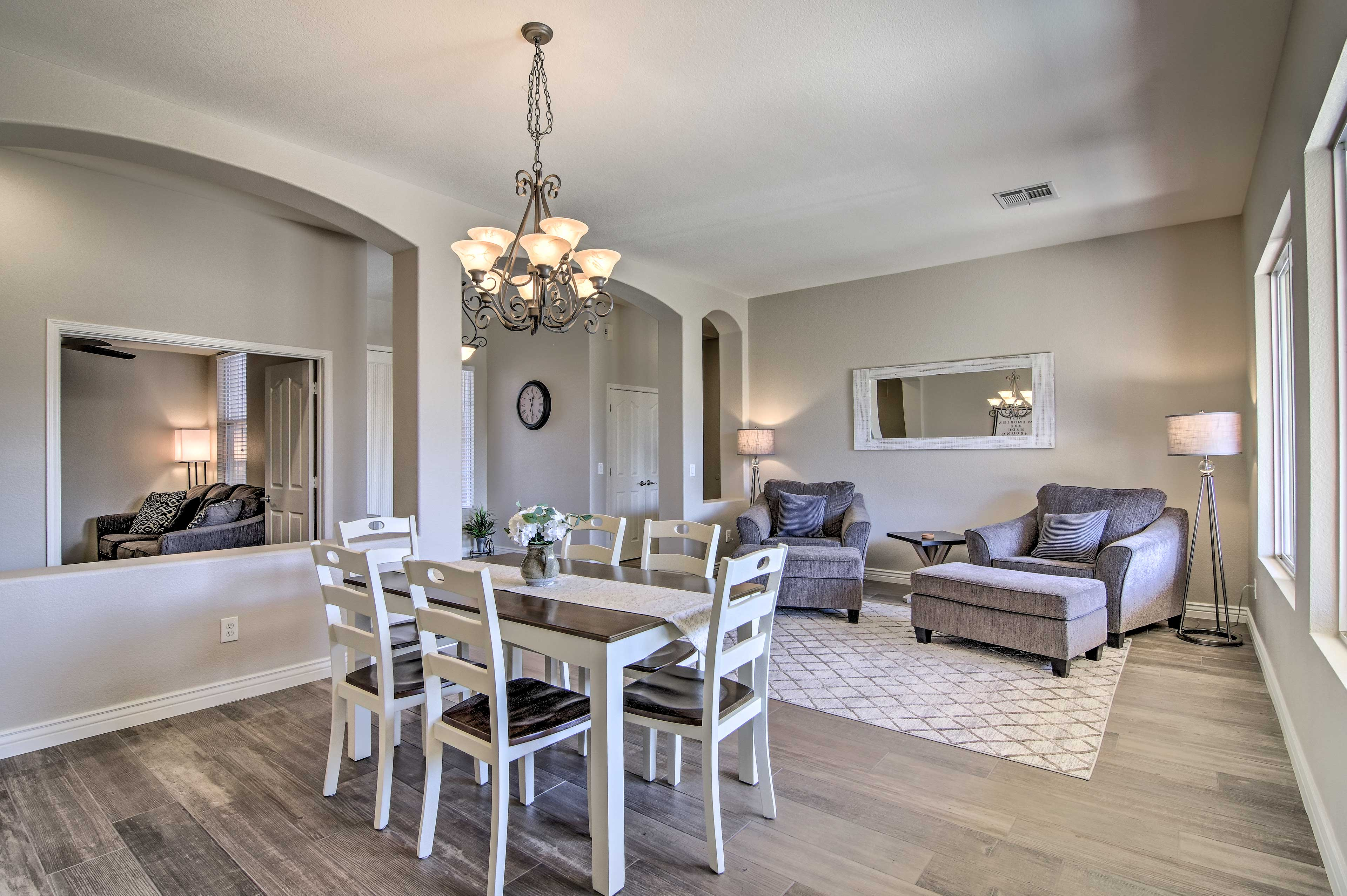 With multiple living rooms and a dining area, it'll feel like you're at home!