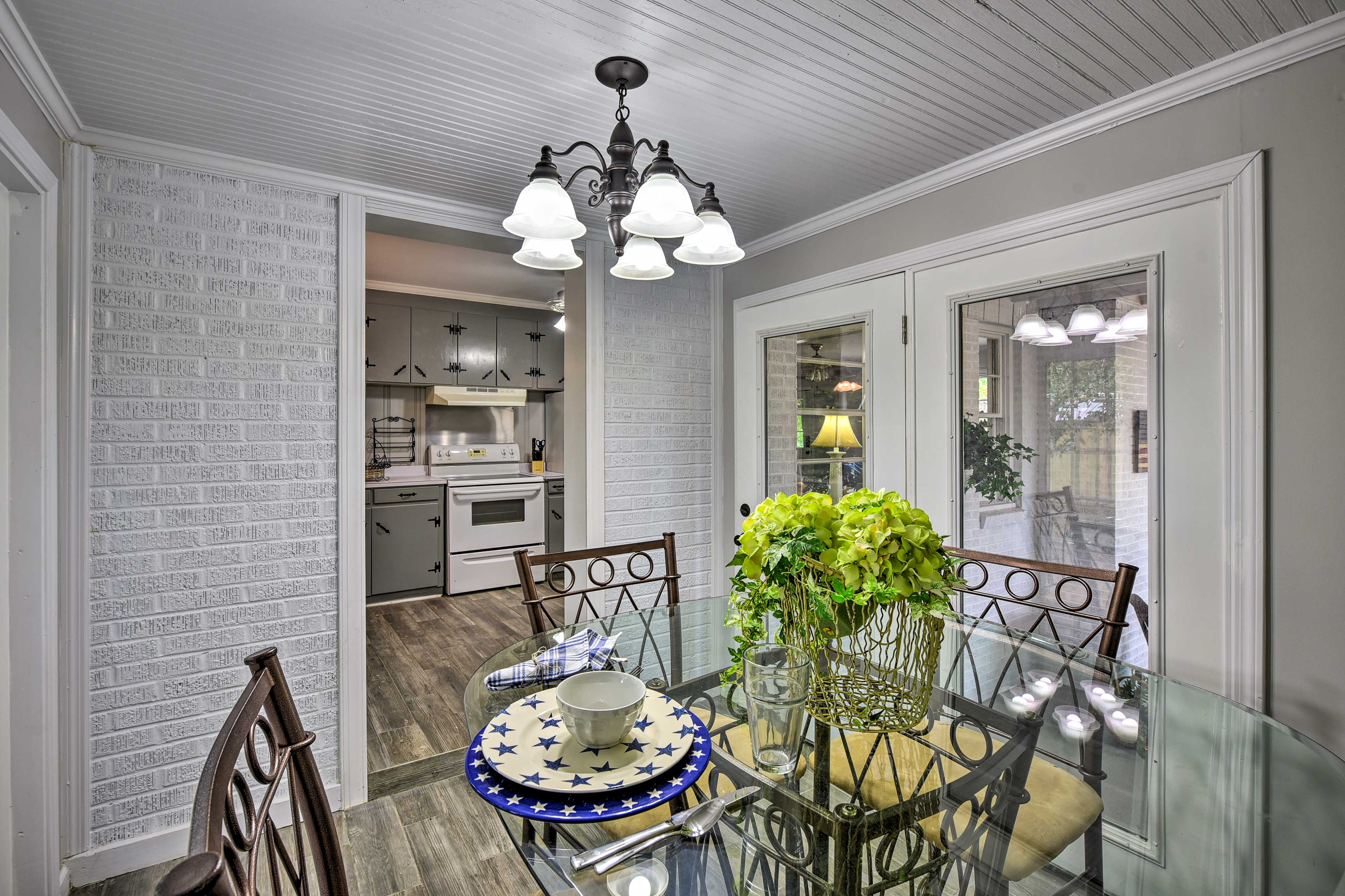 Enjoy the meal in the dining room.