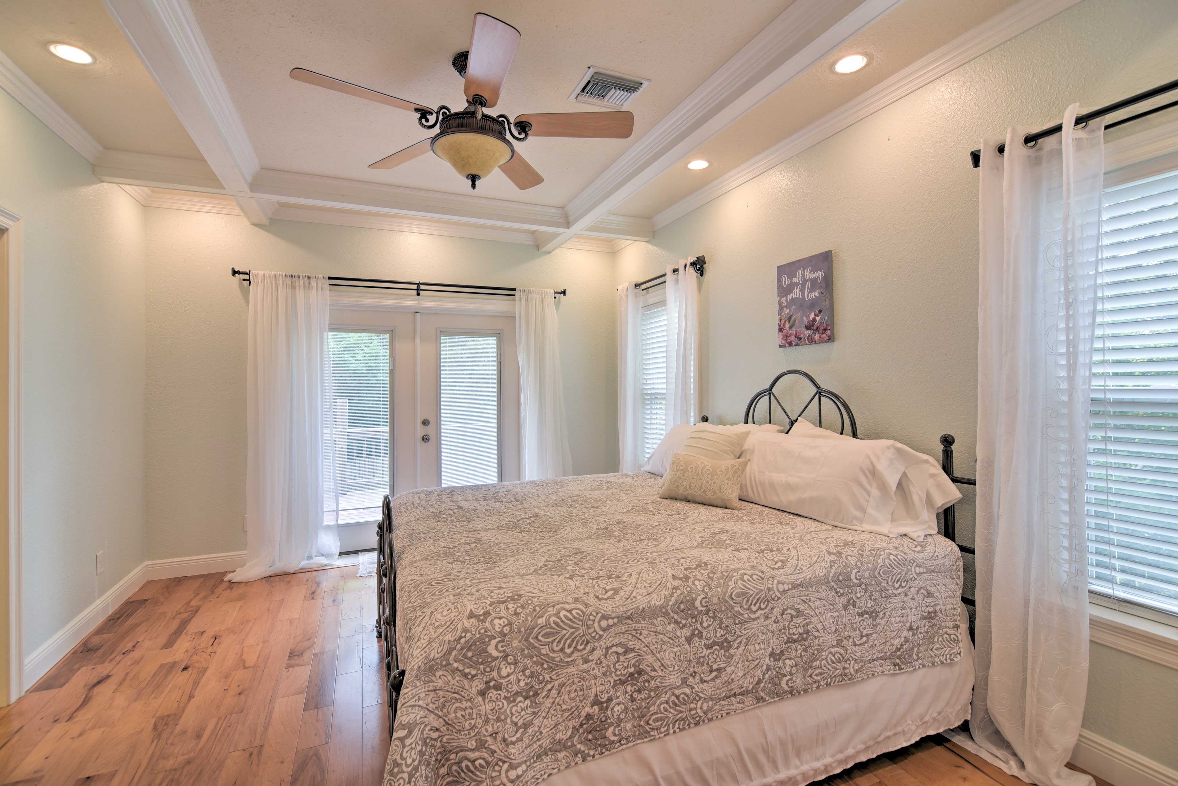 Two lucky guests can claim the master bedroom!