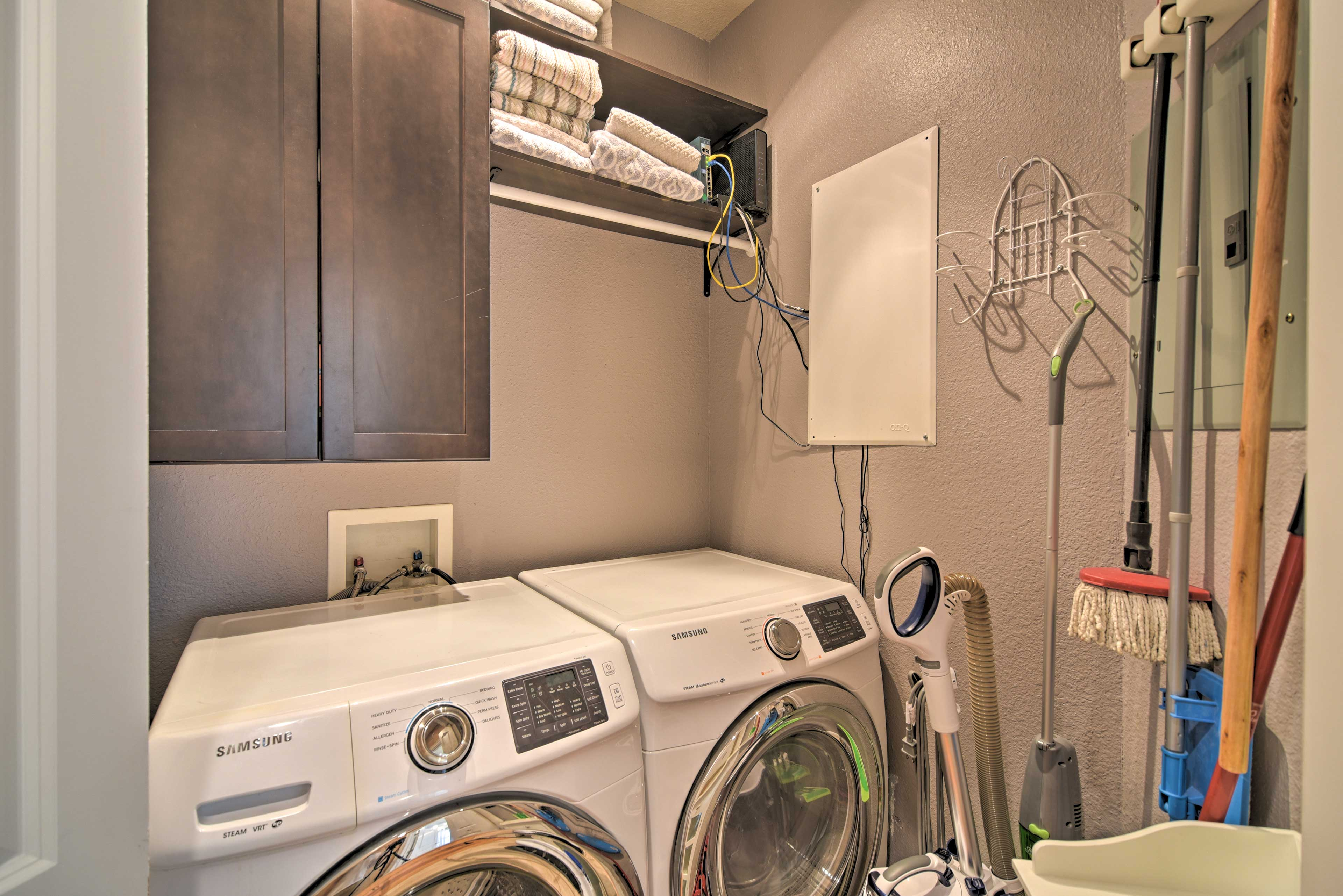 Toss your dirty clothes in the washing machine.