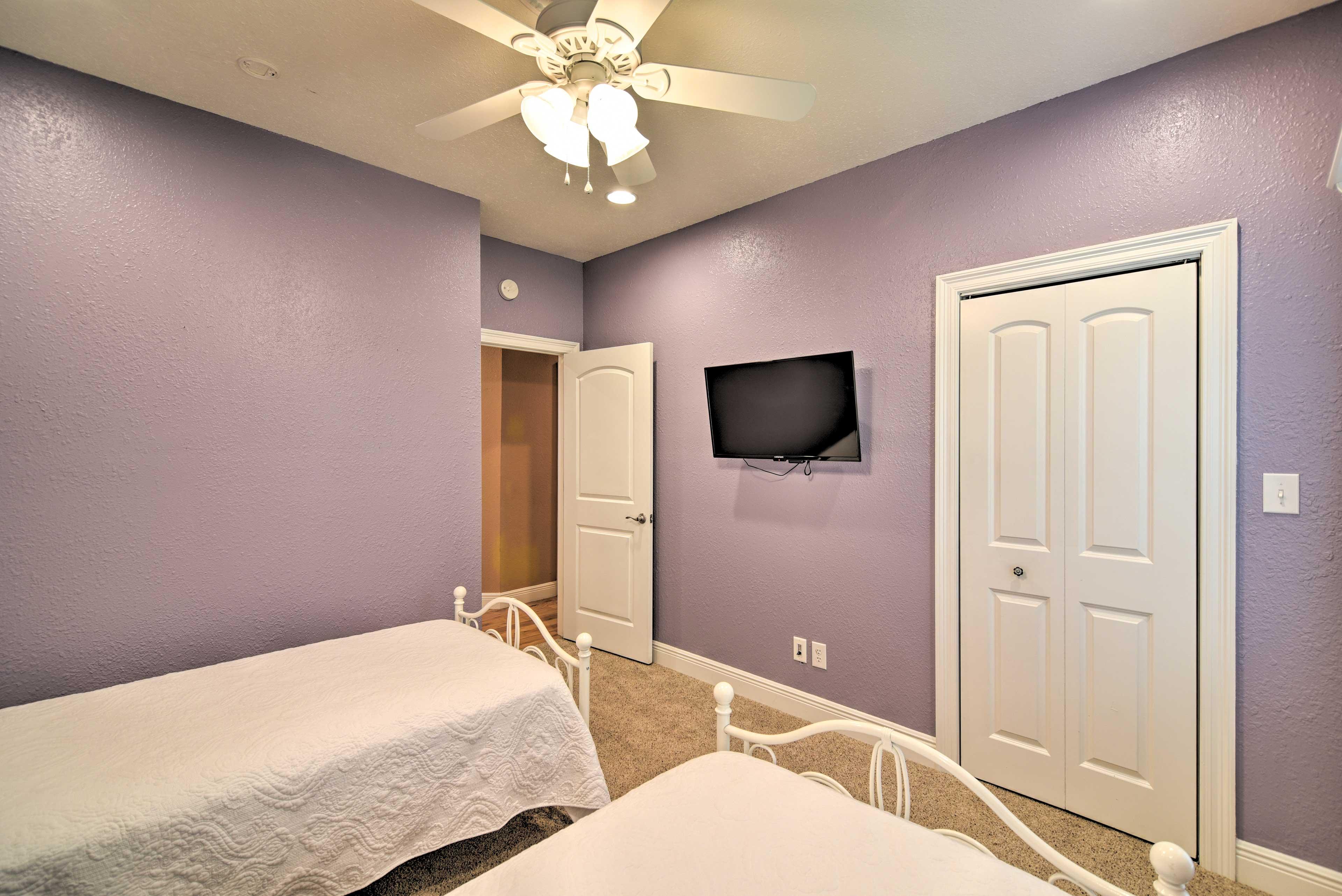 Each room has a flat-screen TV.