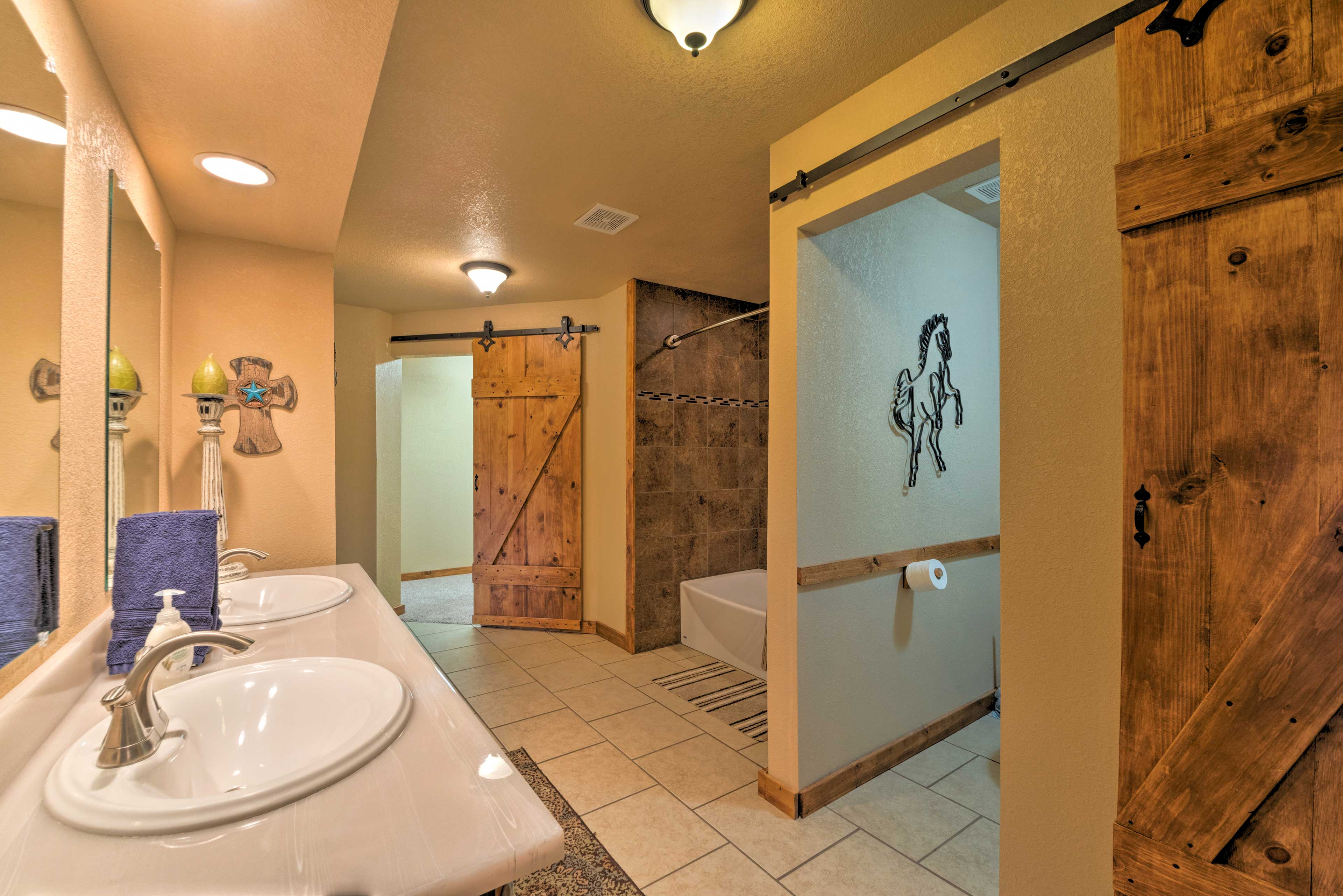 Feel refreshed in this rustic bathroom.