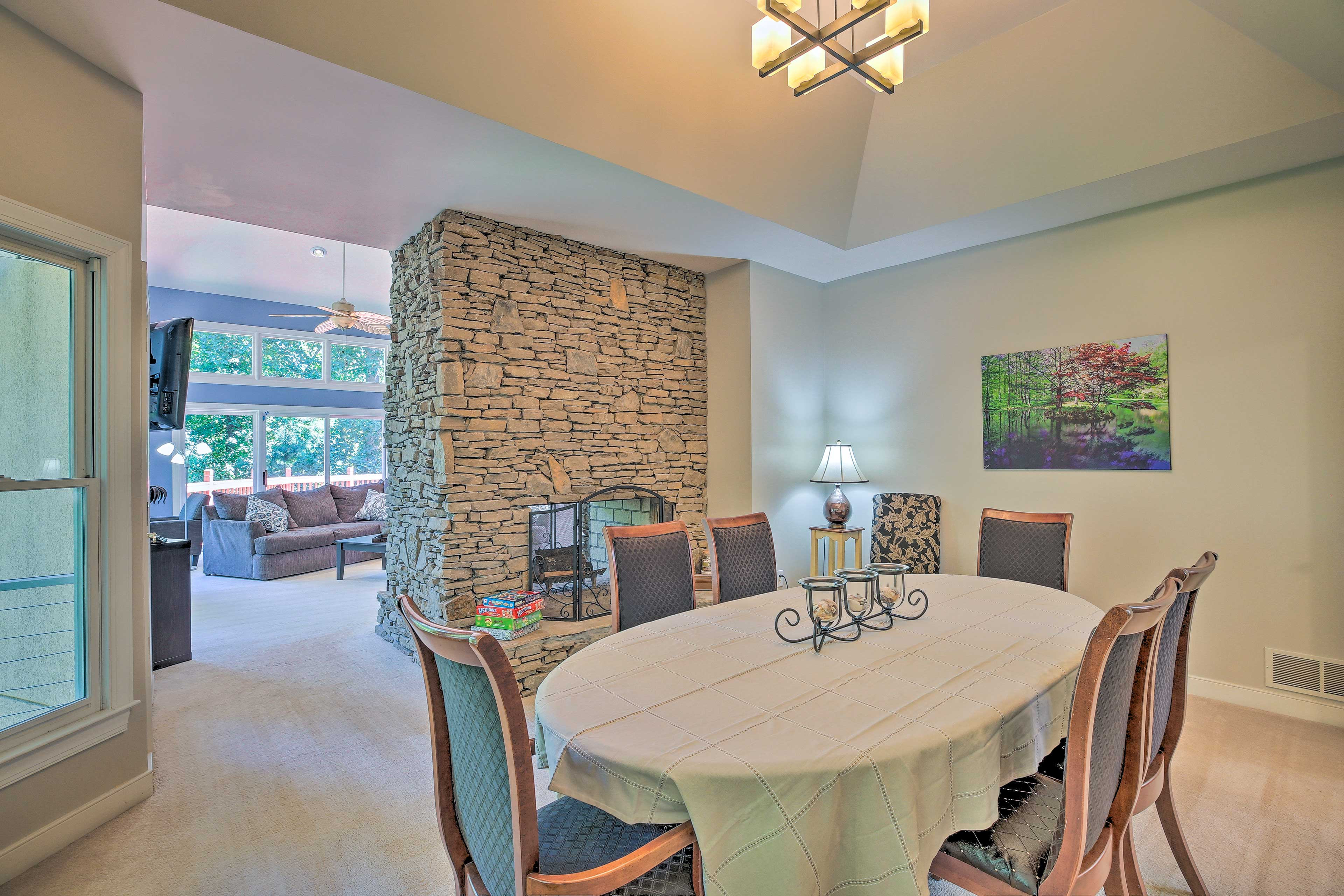 Savor home-cooked meals together at the dining table for 6.