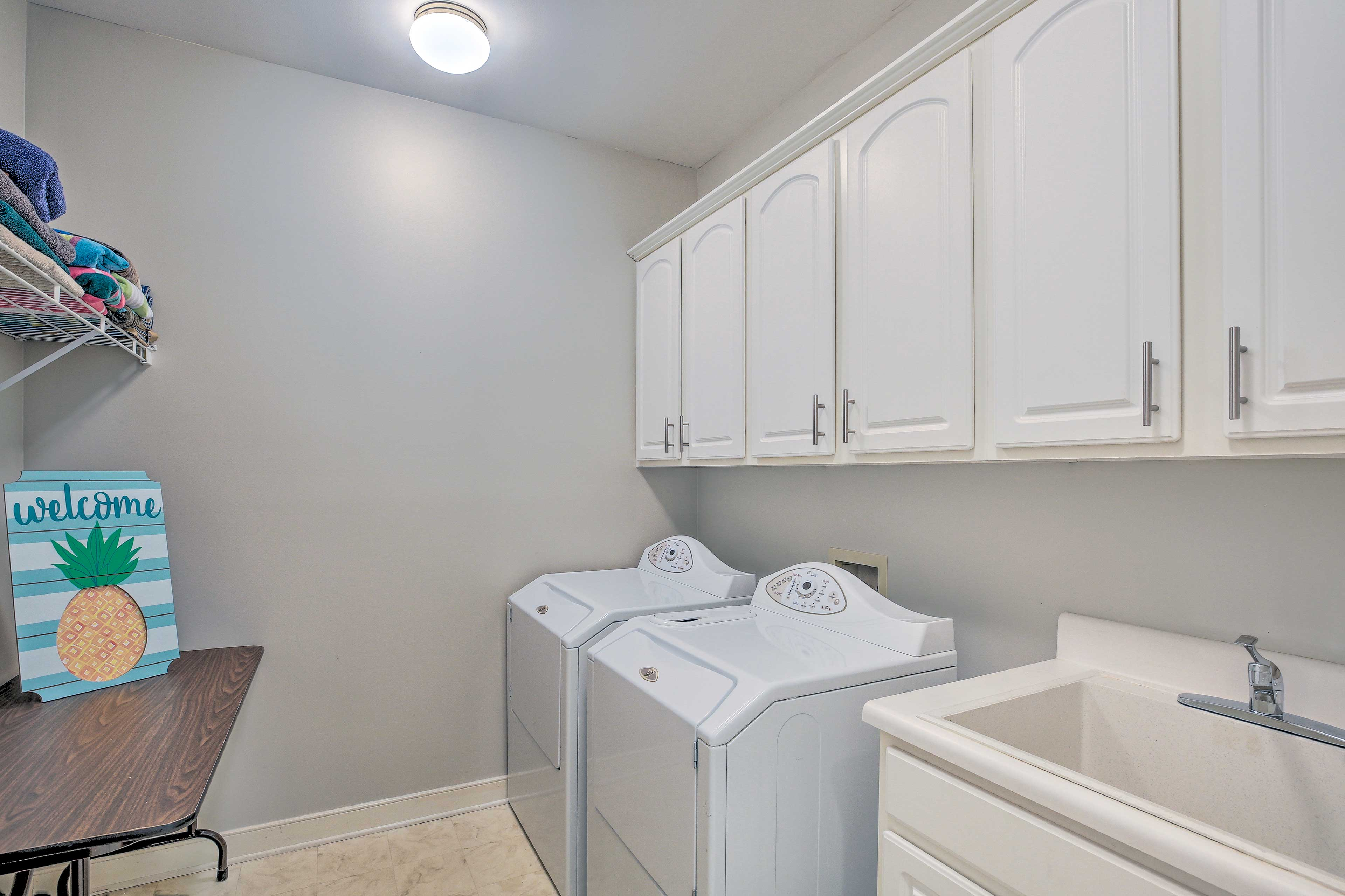 Keep your beach towels fresh and dry with the laundry machines.