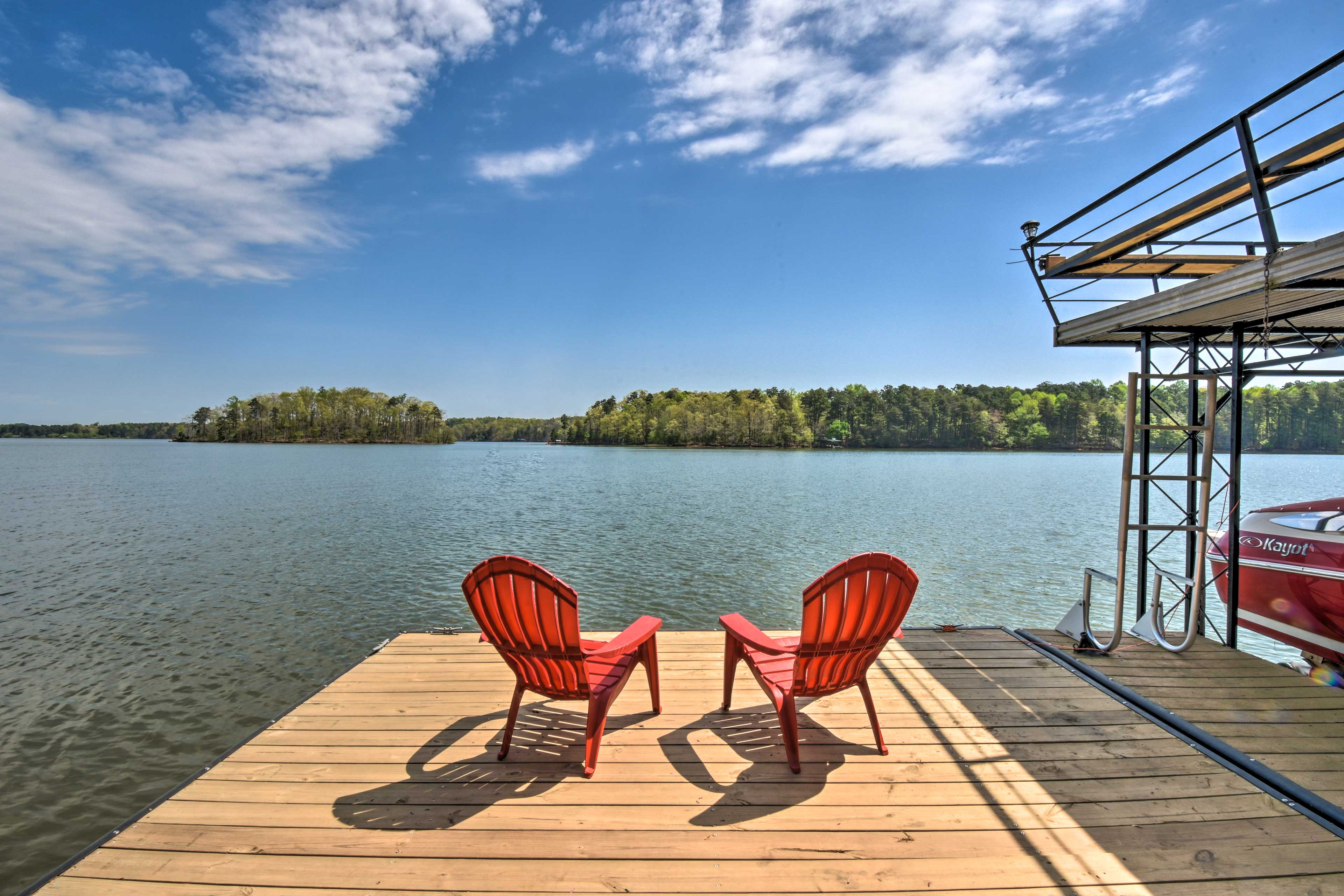 The property has a private dock and boat slip right on Lake Lanier.