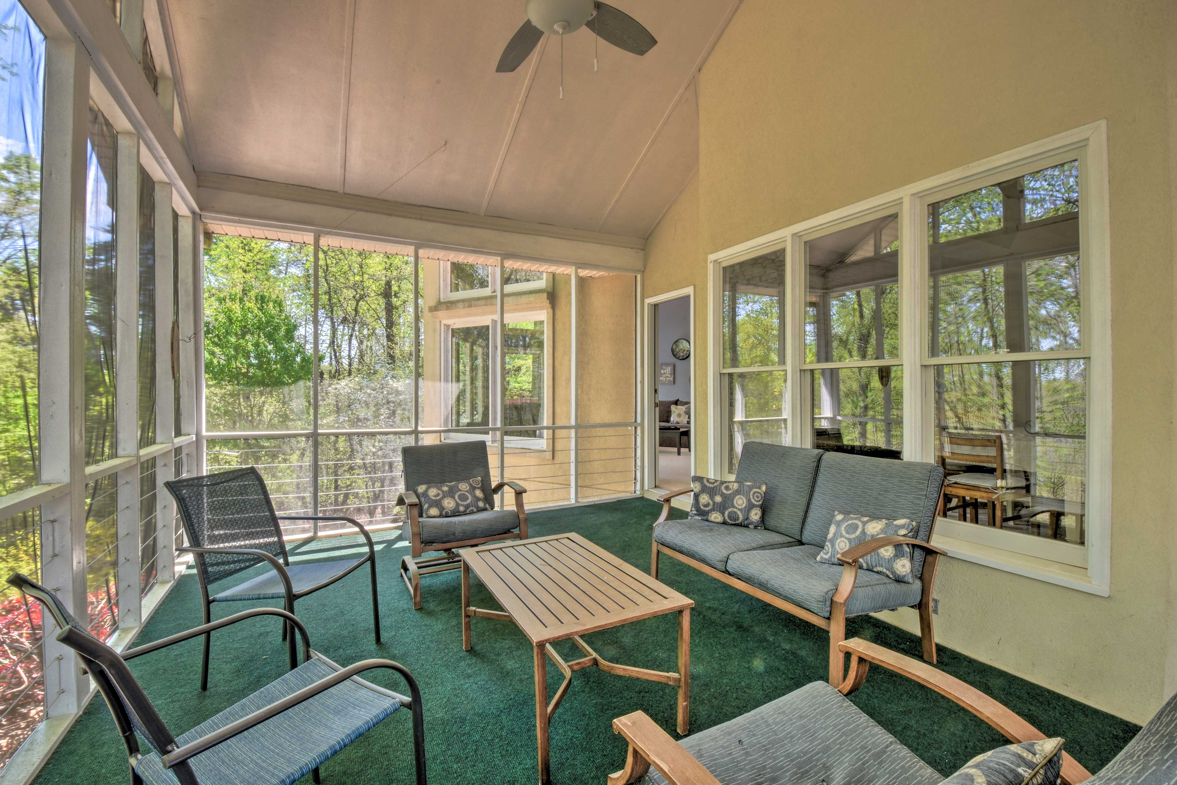 Sip iced tea while you read in the bright sunroom.