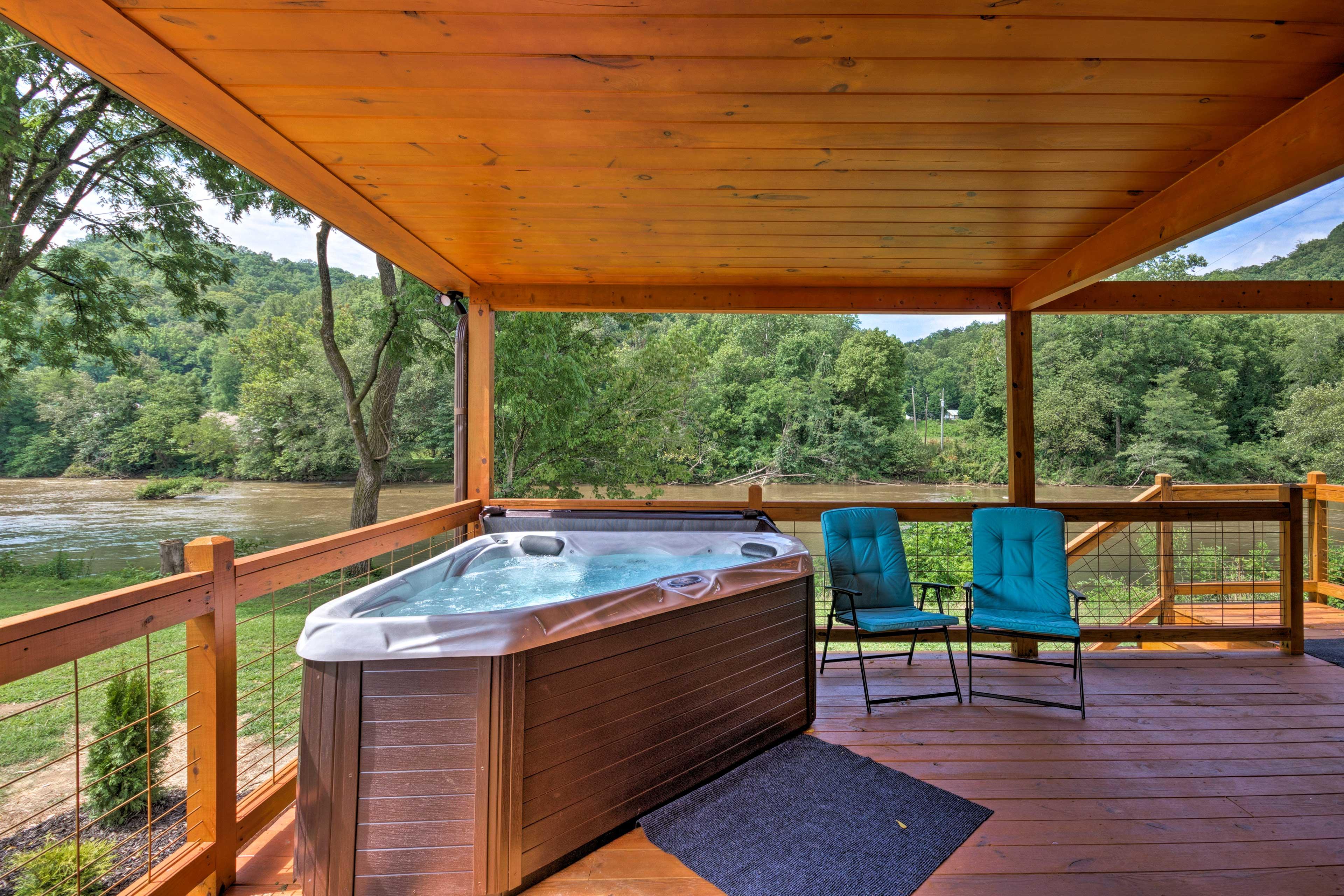 Take a relaxing soak in the hot tub.