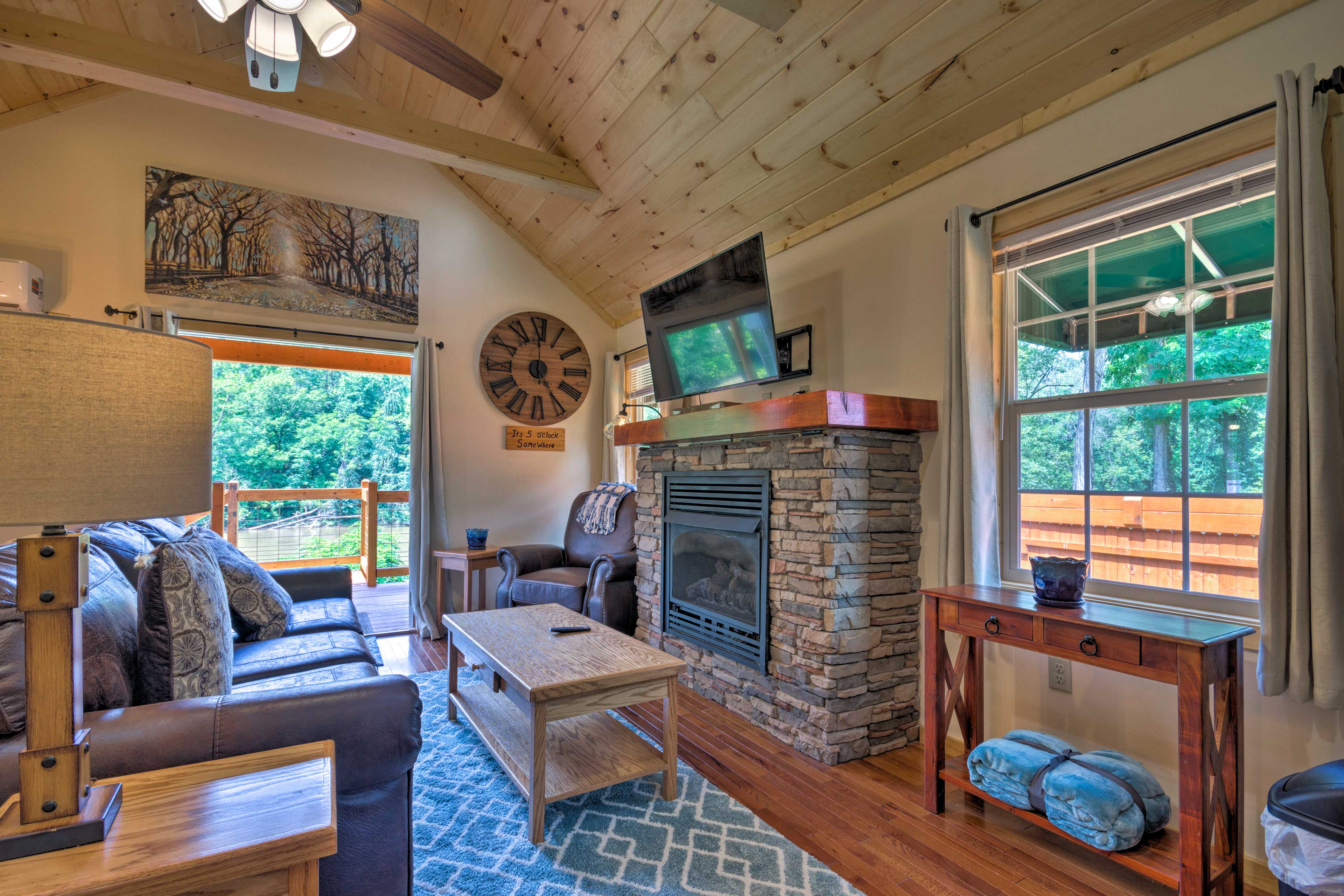 Turn on the gas fireplace once the sun sets.
