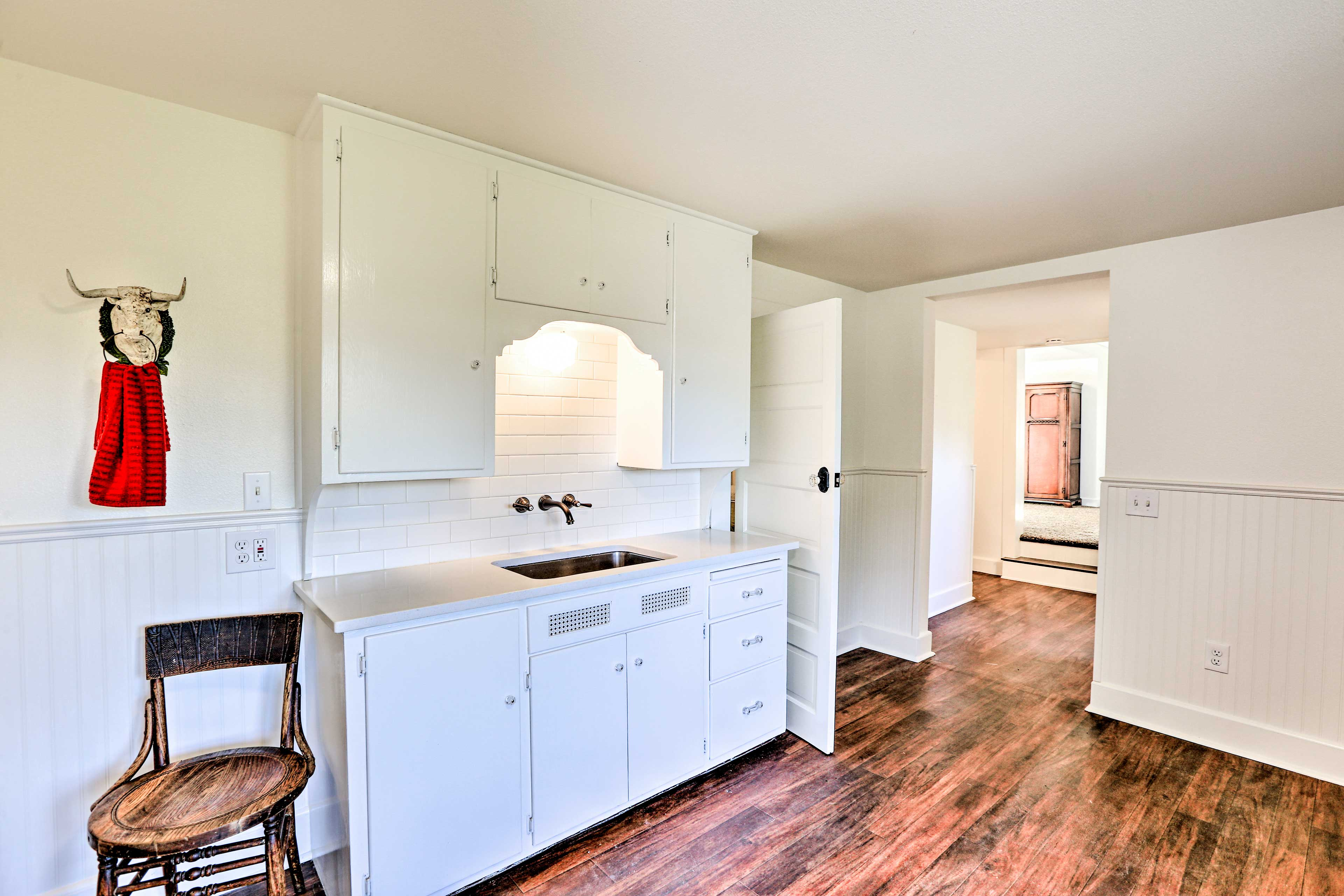 There's ample space for counter space in the full kitchen.