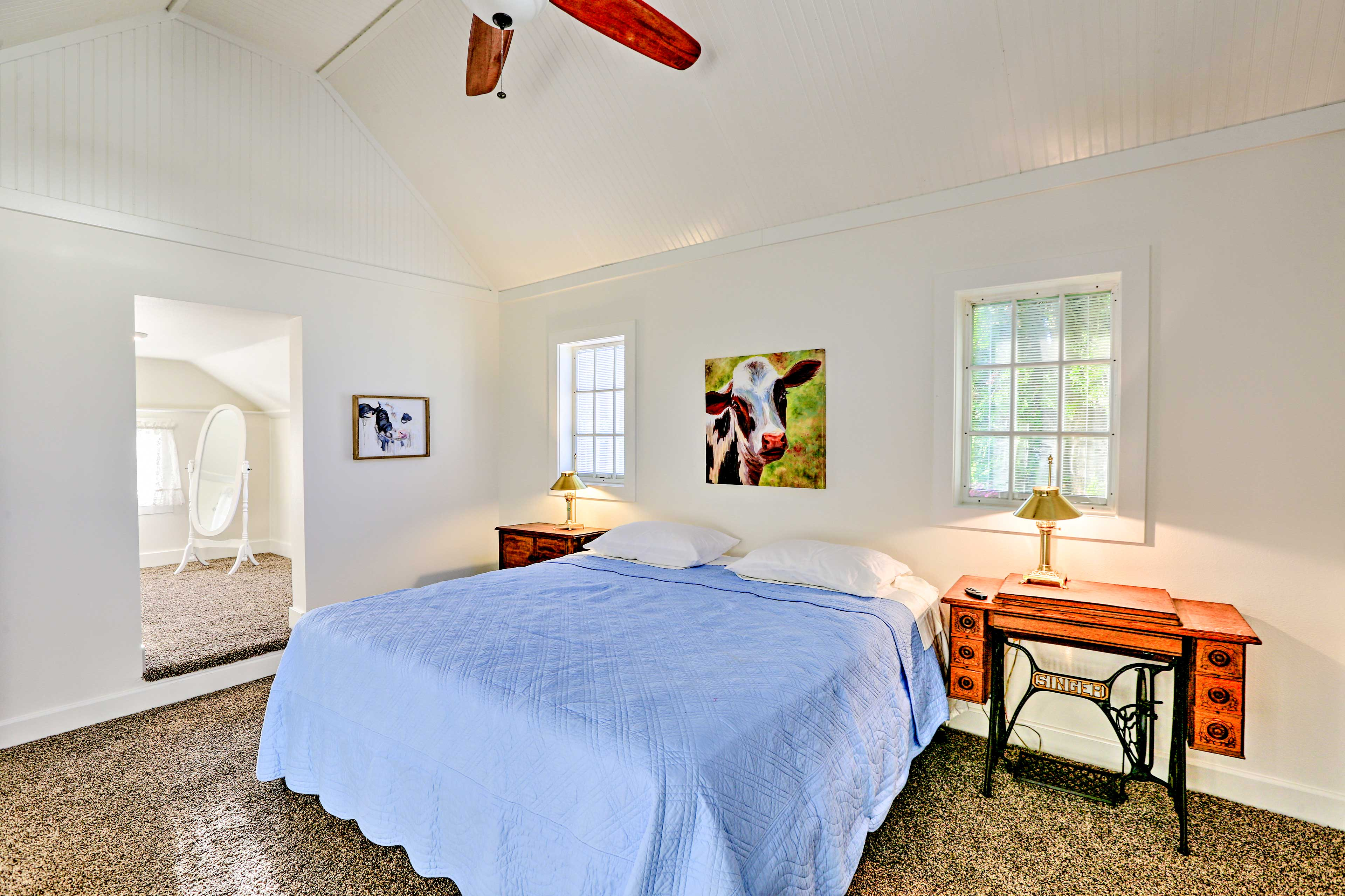 The elegant master bedroom is the perfect respite after a long day.