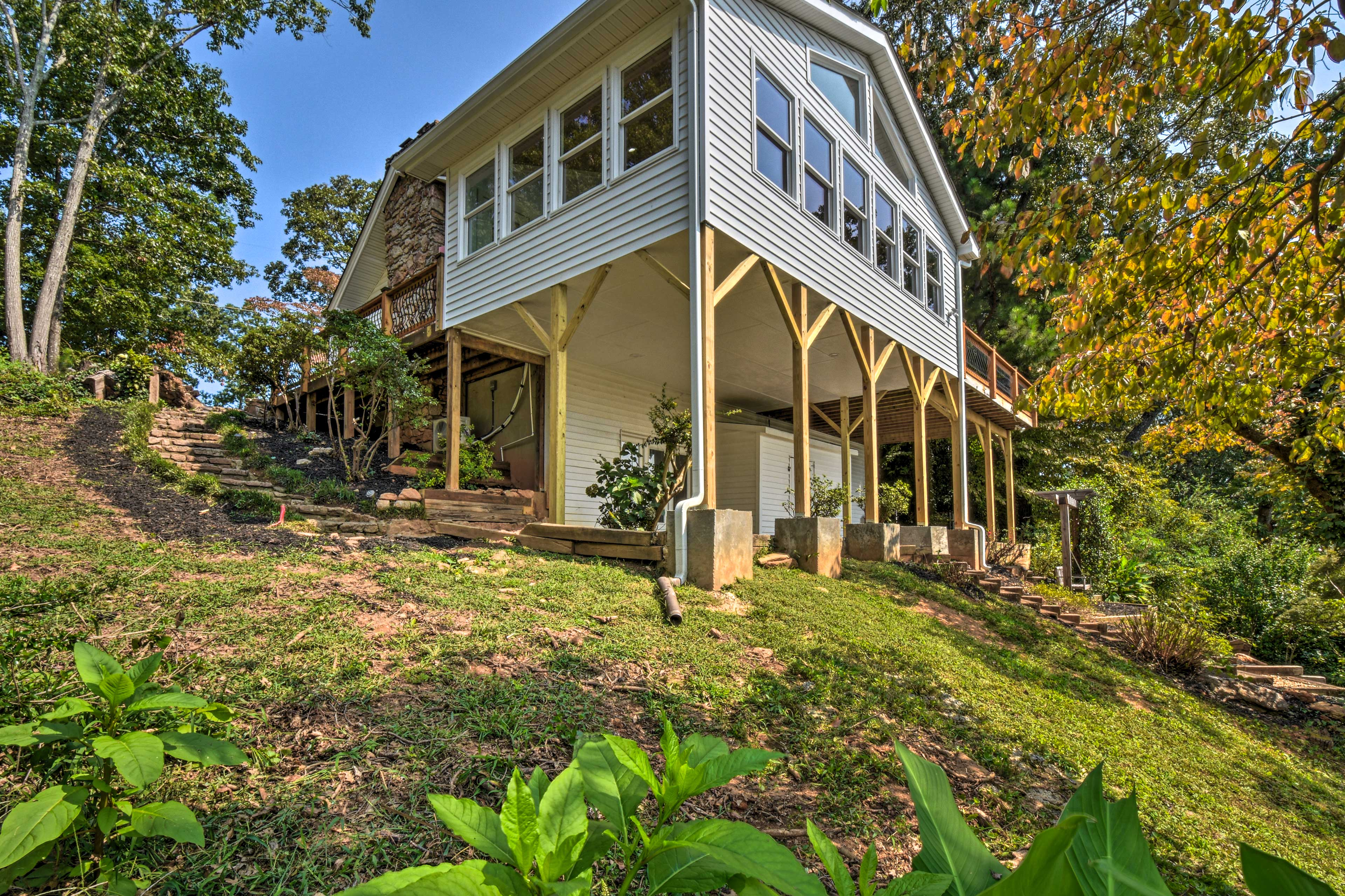 Property Exterior | 2-Story Home | Private Boardwalk to Lake | Shared Dock