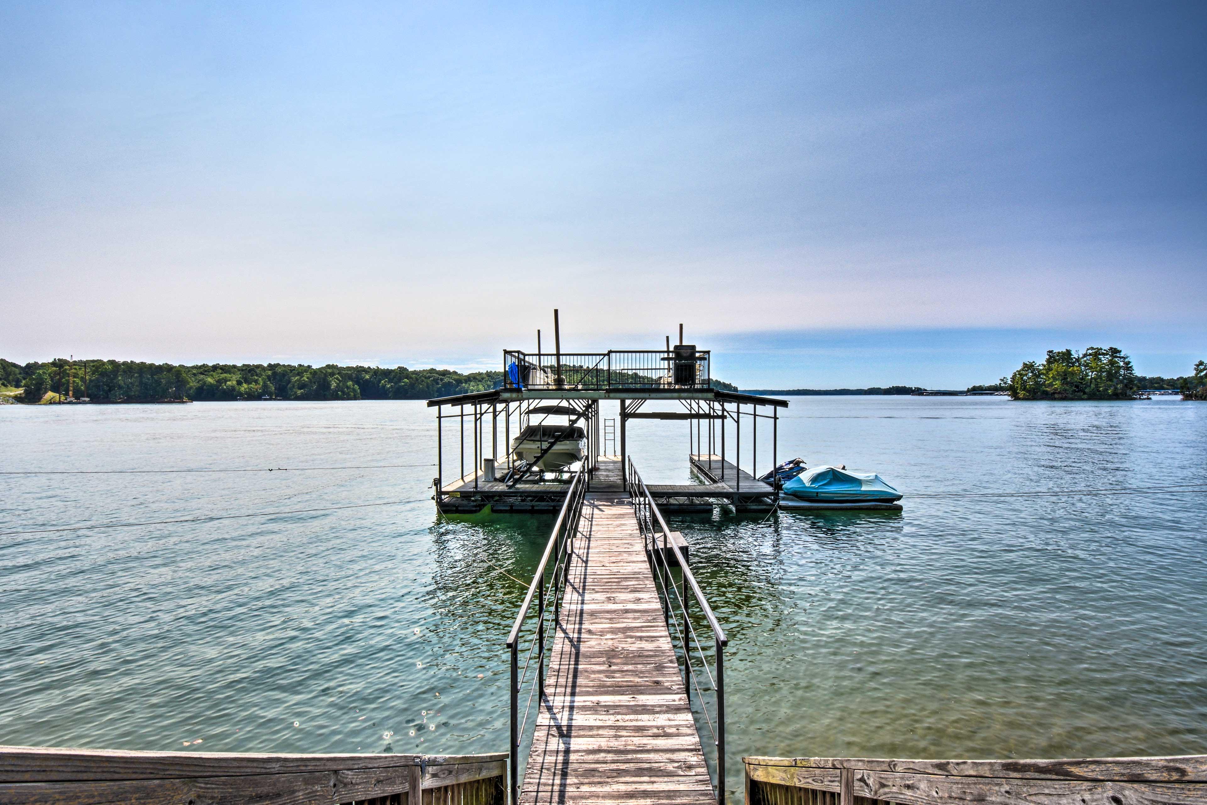 Property Exterior | Shared Dock w/ Boat Slip & Sundeck