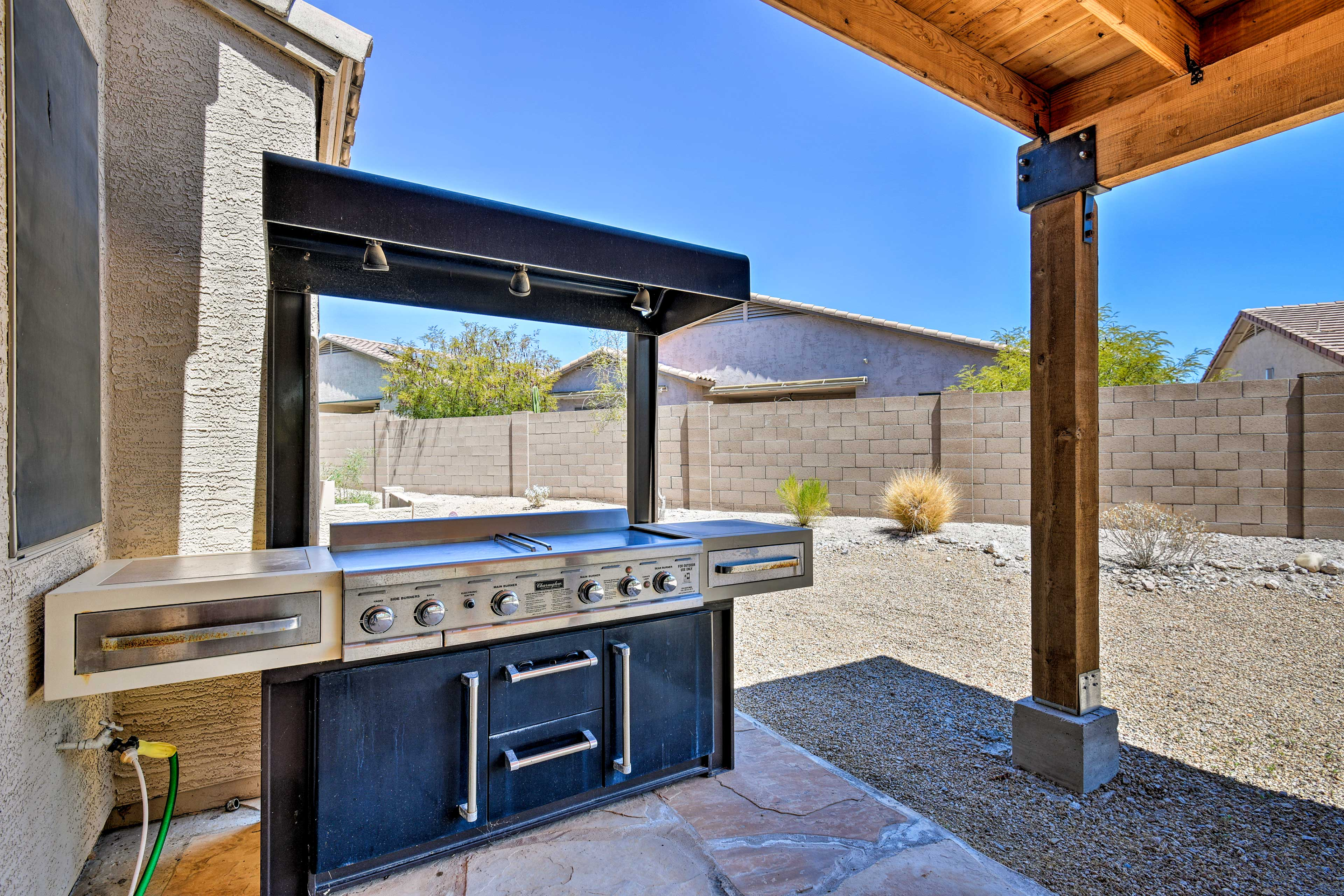 Fire up the gas grill for a cookout.
