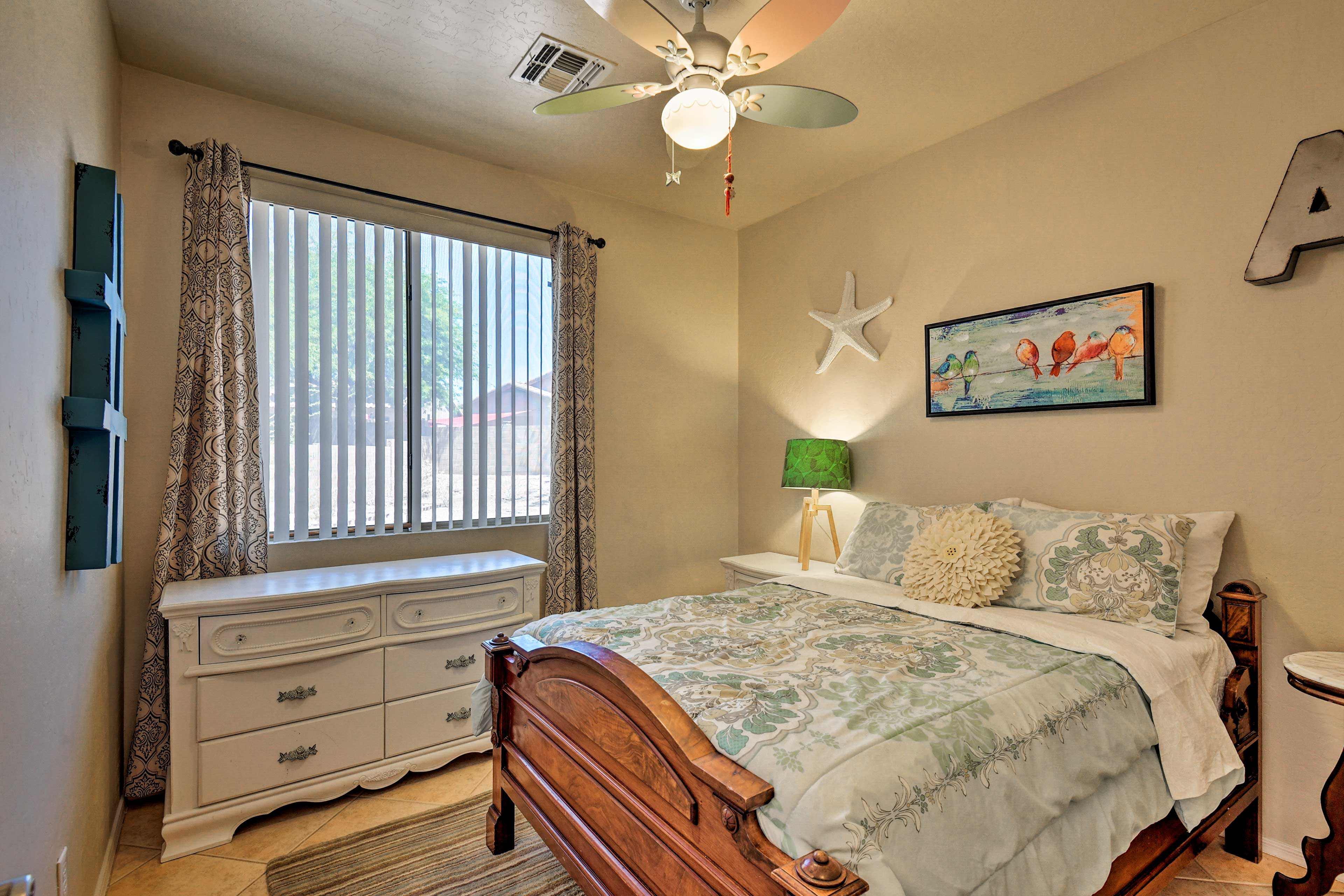 The third bedroom has a full-sized bed.