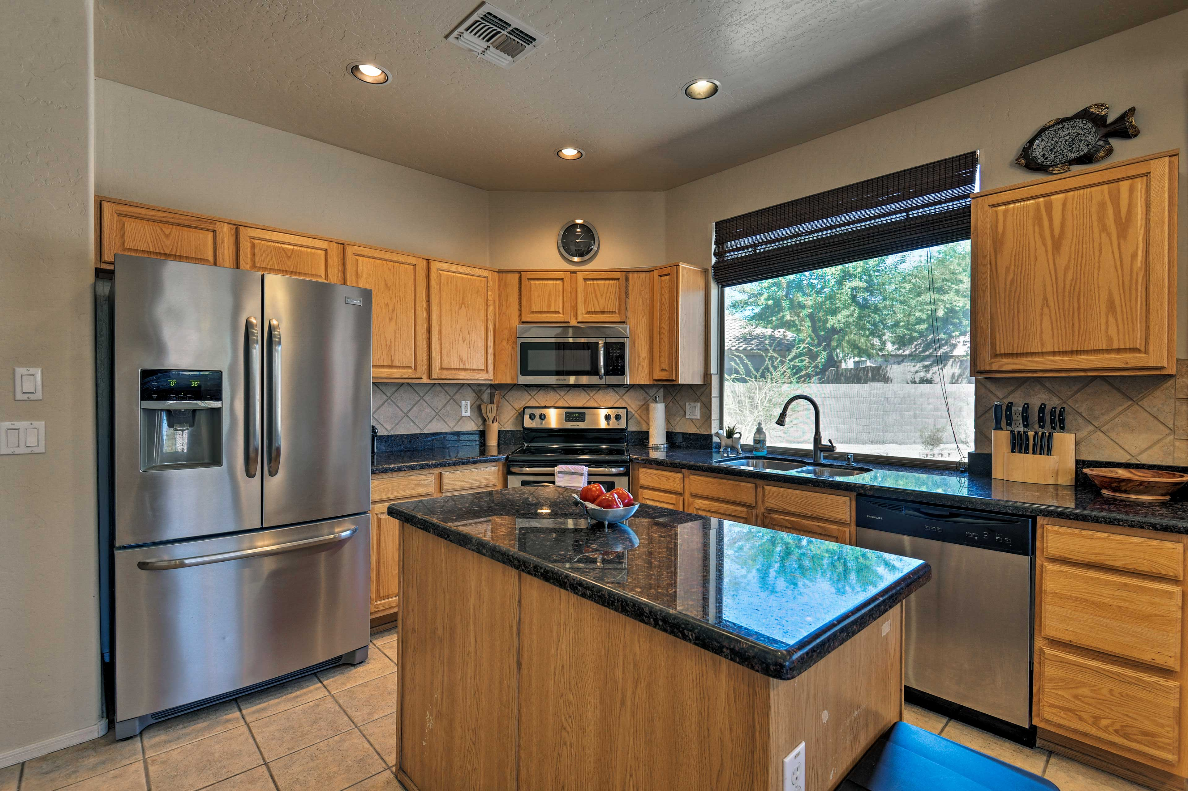 You'll have access to stainless steel appliances and a large kitchen island.