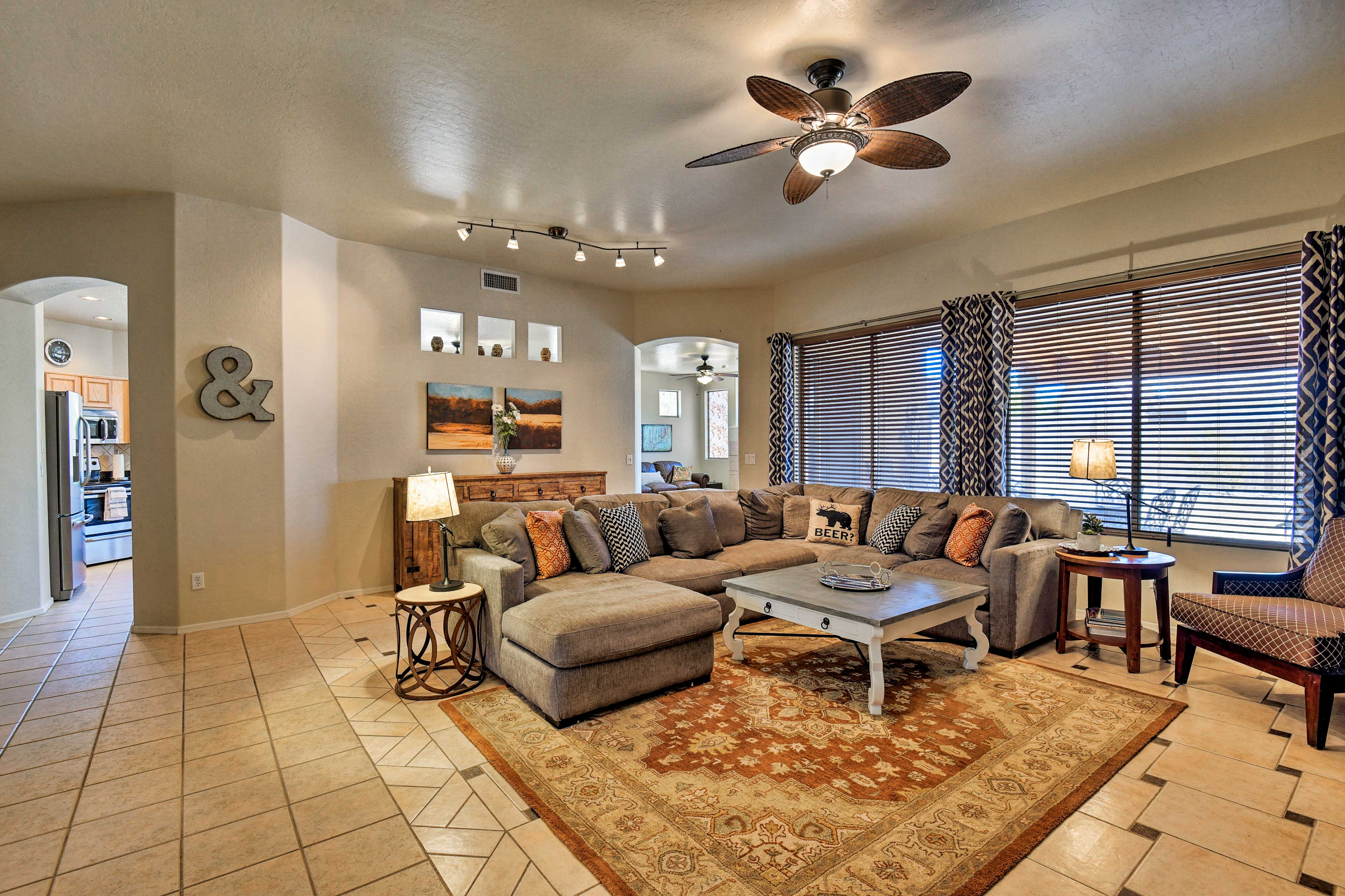 The home has plenty of space for your group of 9.