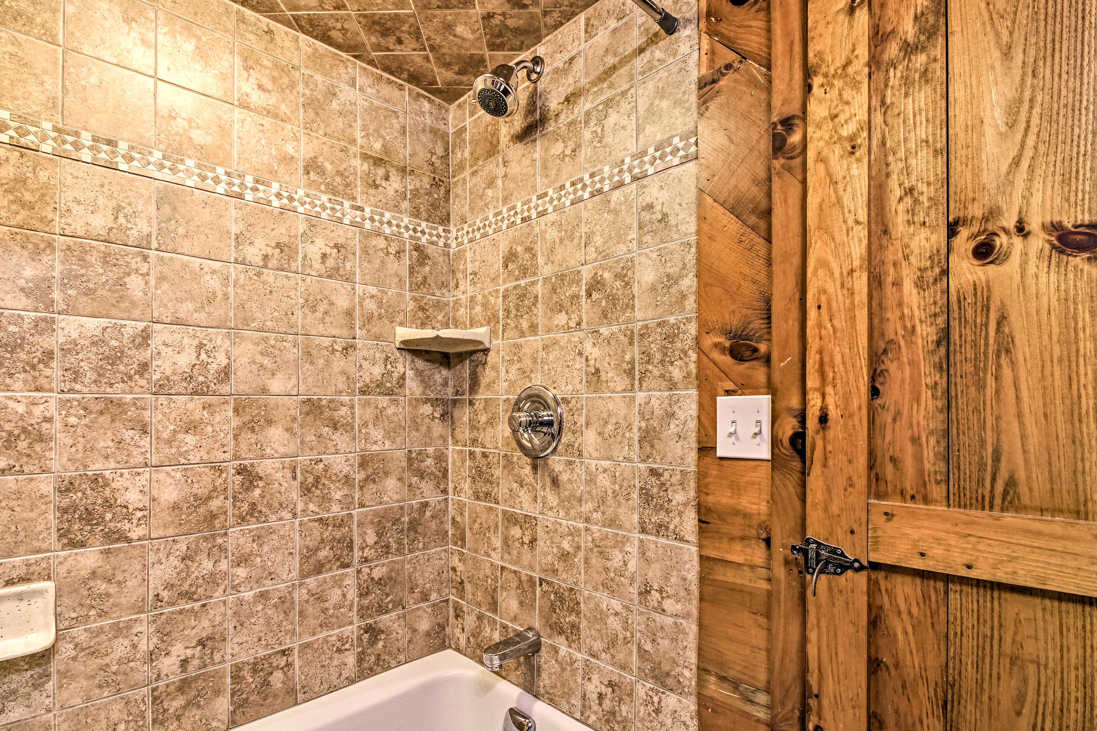 Rinse off in the tiled shower.