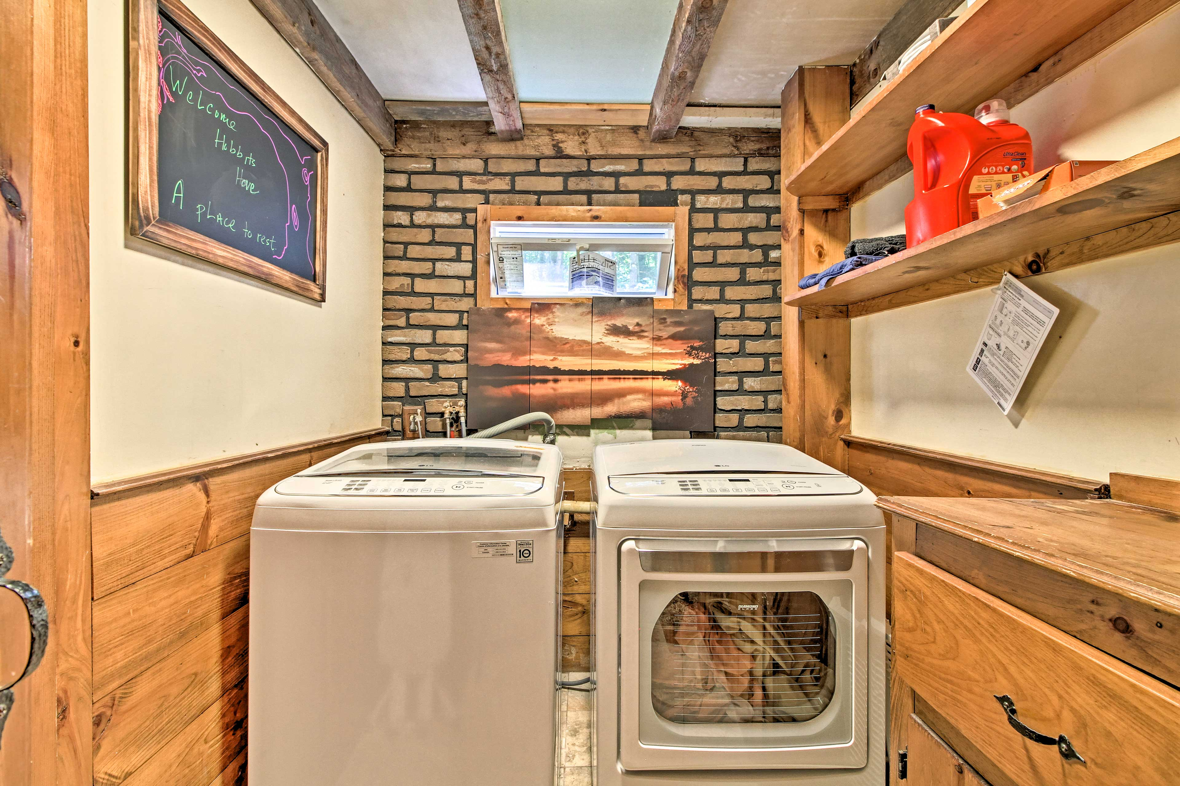 Laundry detergent is provided for the washer and dryer!