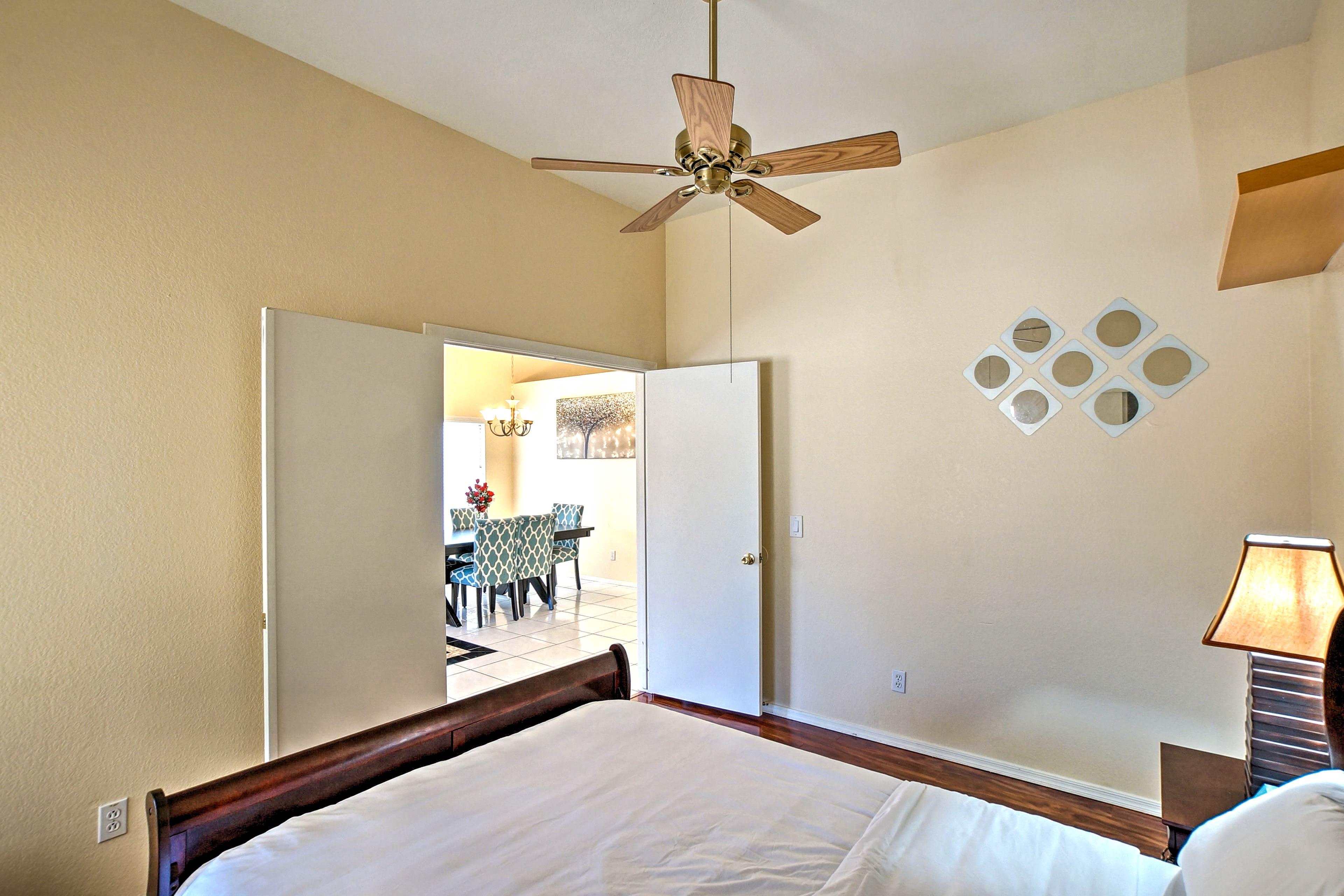 Unwind below the ceiling fan each night.