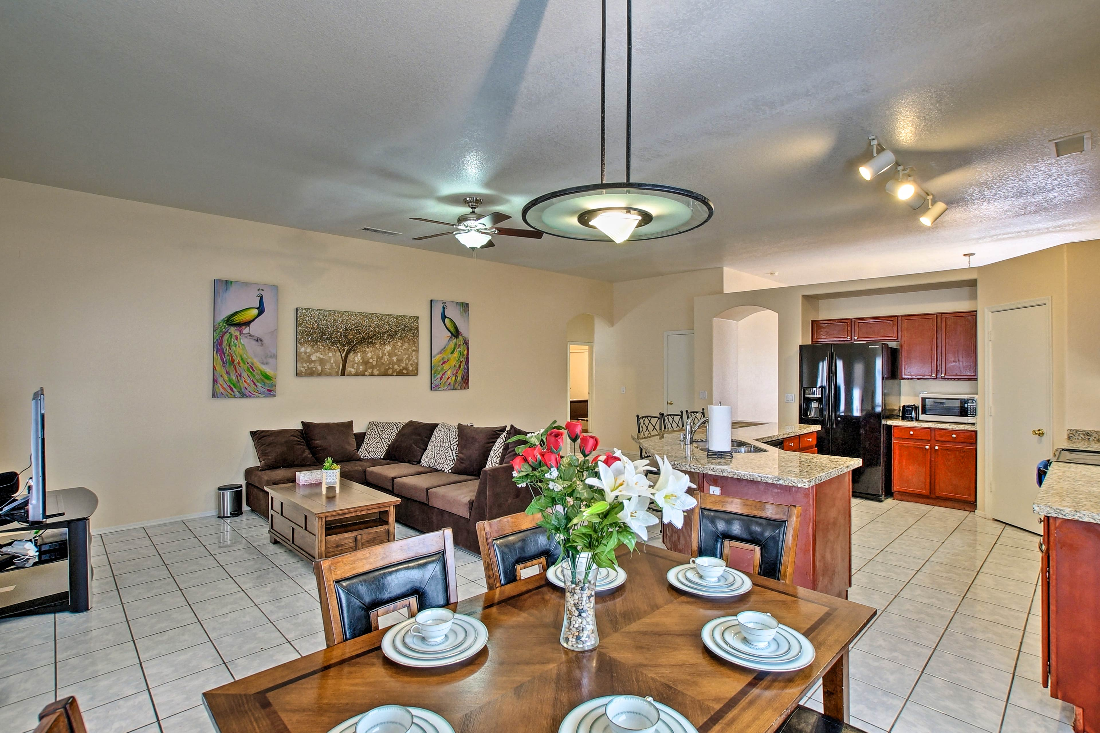 The interior is lined with tasteful decor and top-notch furnishings.
