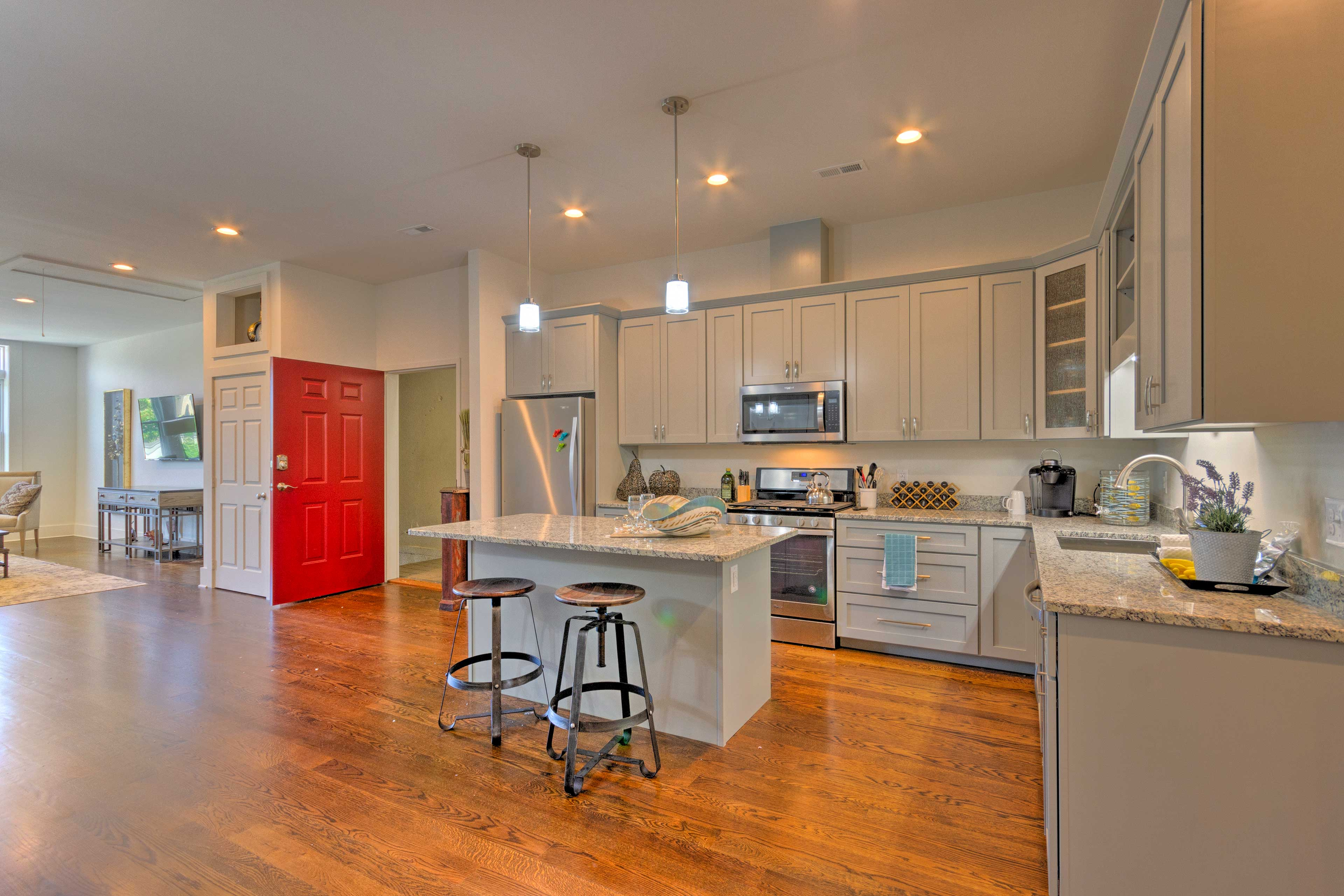 The kitchen is fully equipped with cooking basics & appliances.
