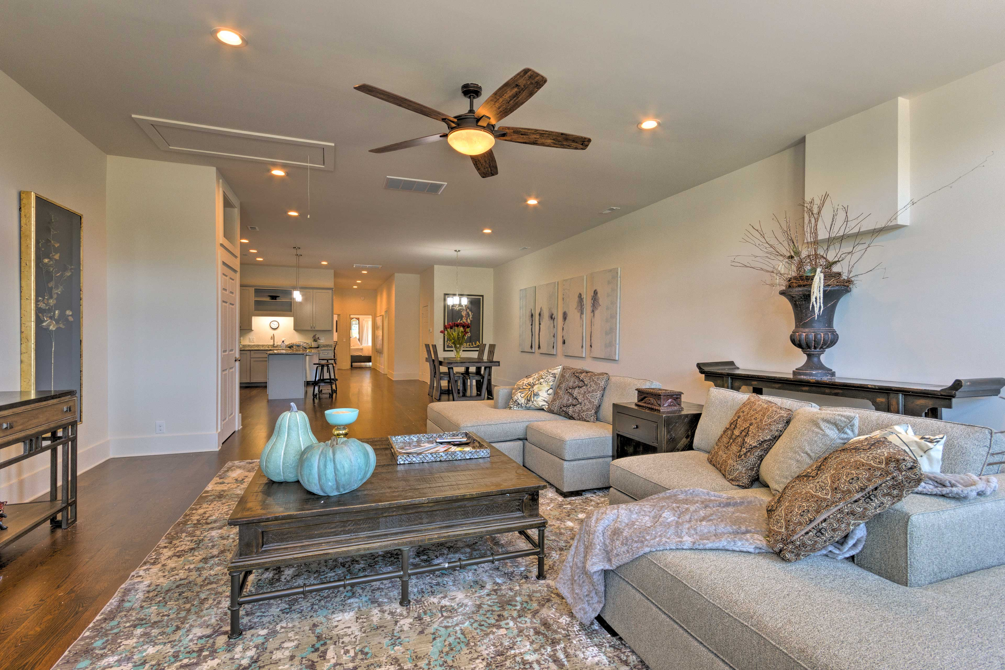 Contemporary decor highlights the space.