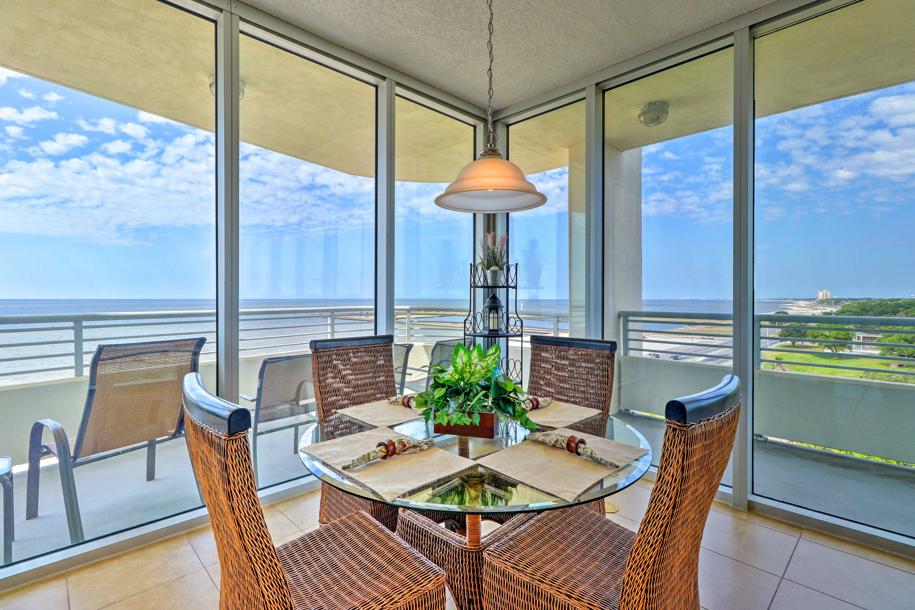 Dine with a view at this 4-person table.