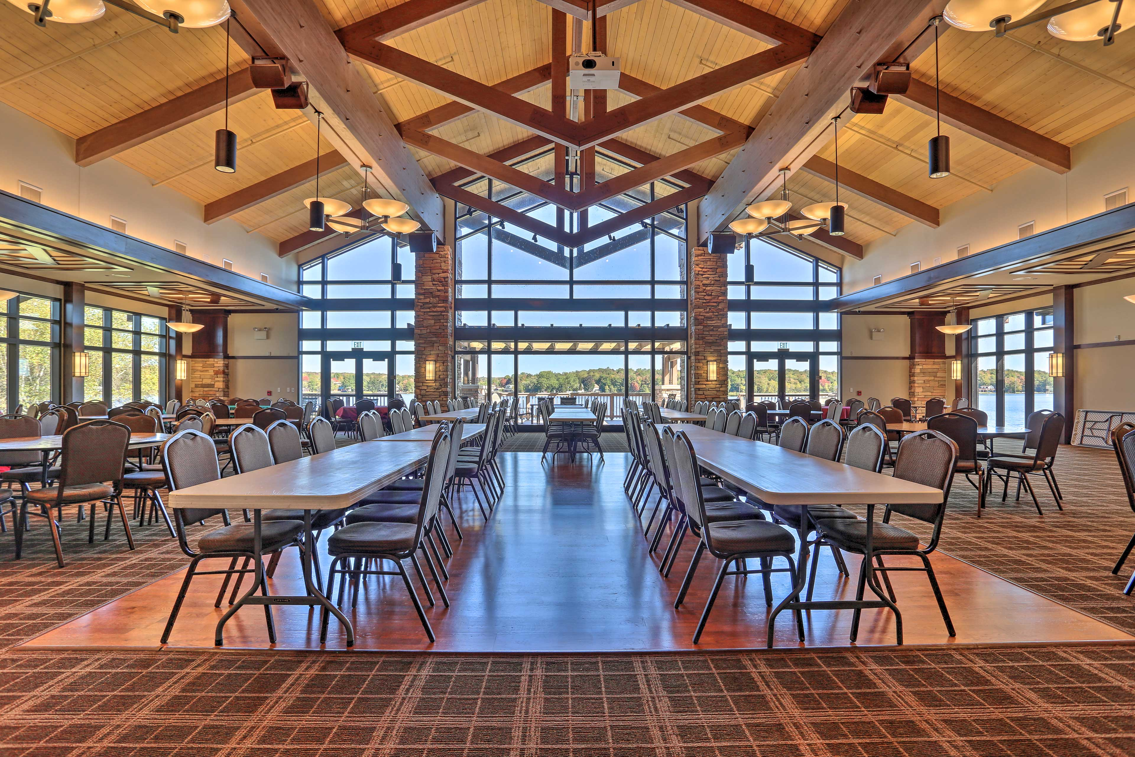 Host an event in the event center overlooking the lake.