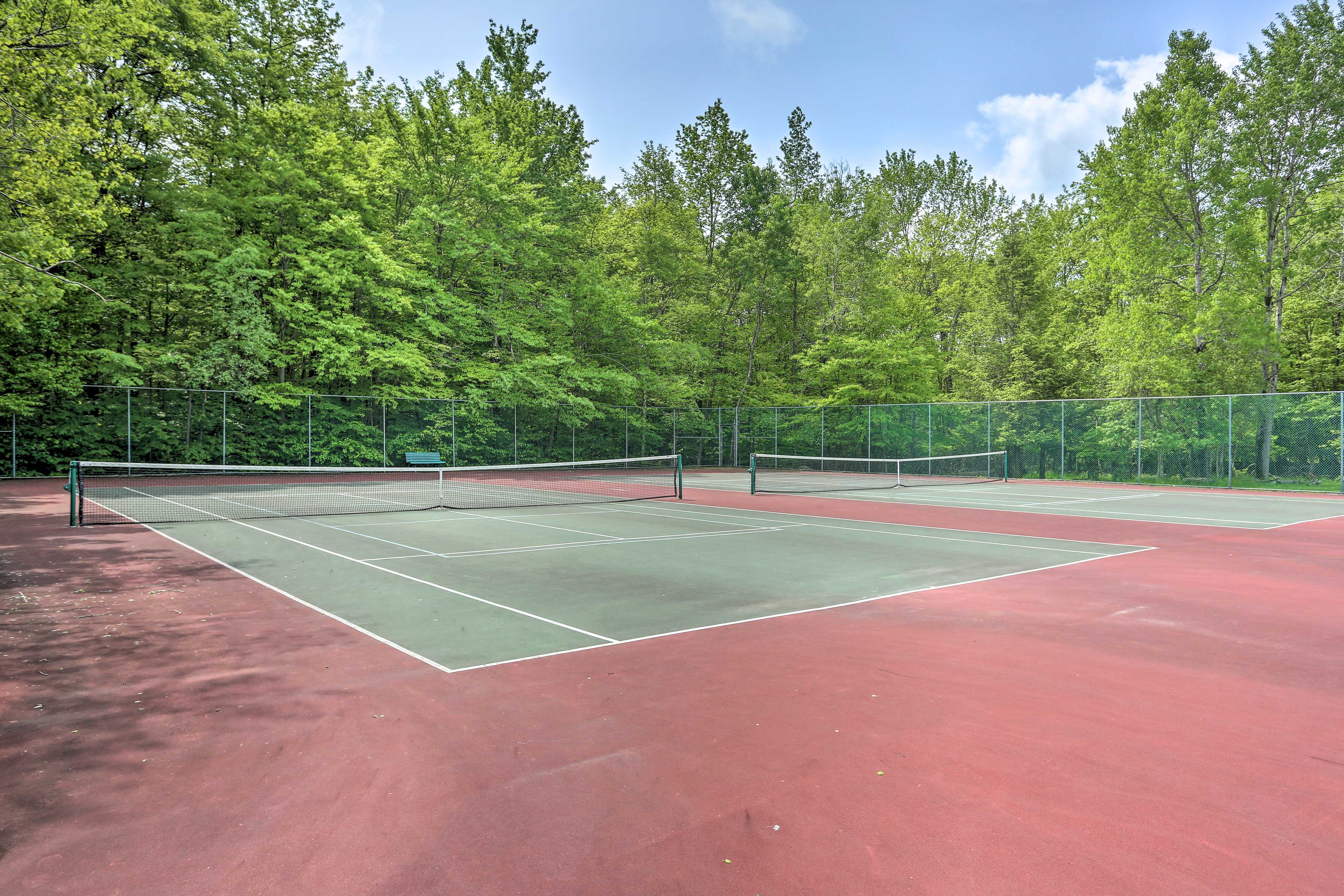 Bring your tennis rackets for a game on the courts.