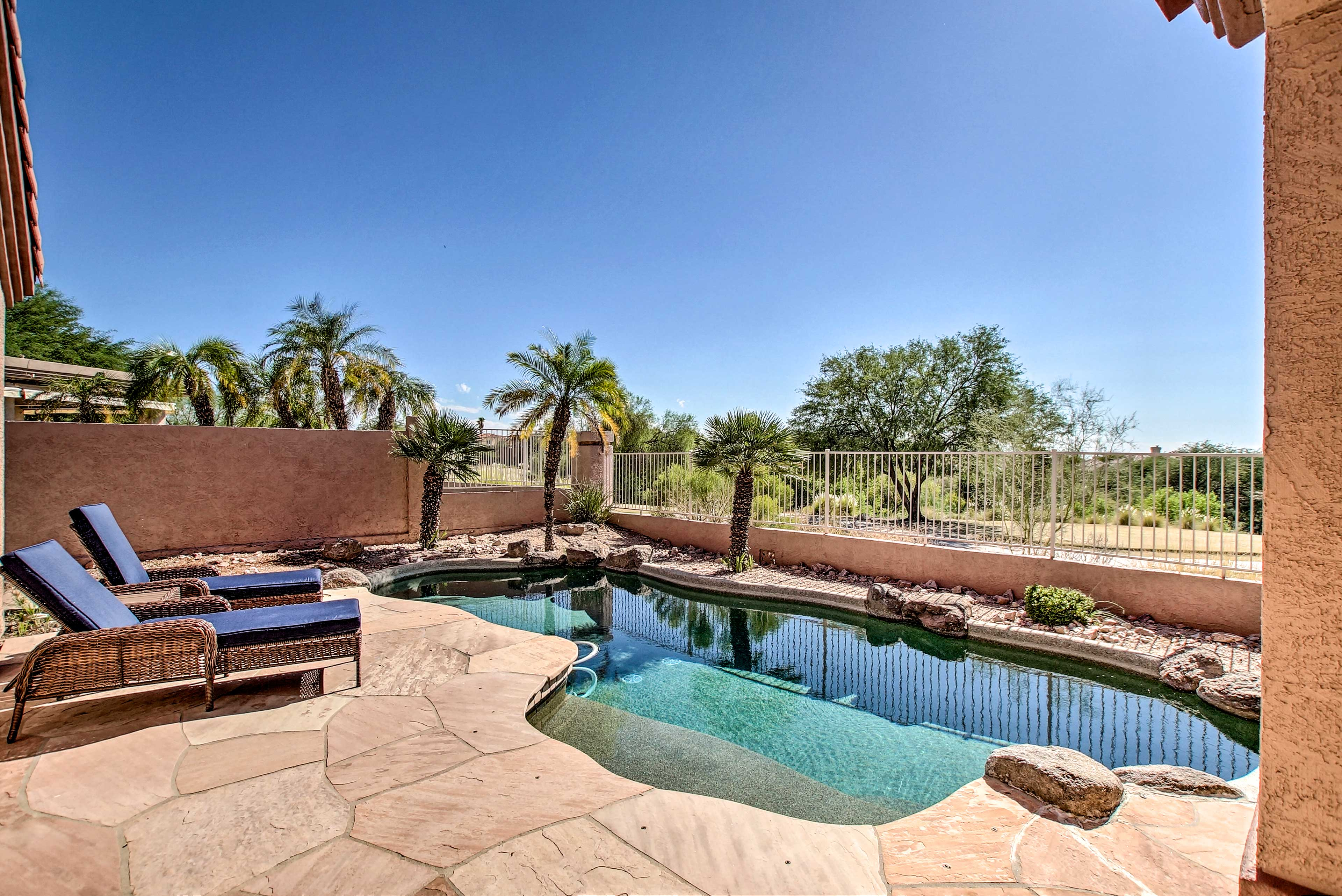 Cool off from the desert sun and dip your toes in this refreshing pool.