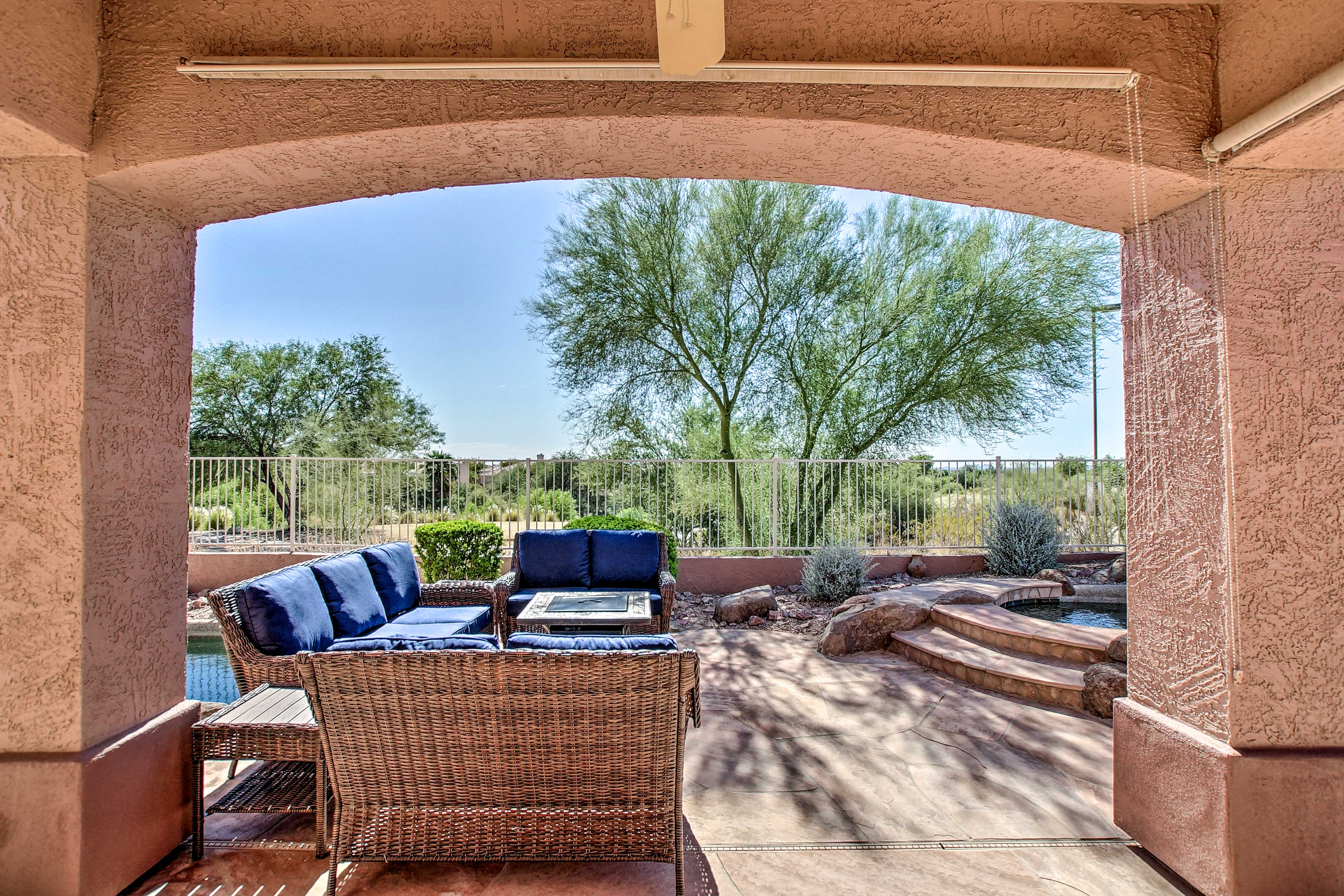 Step out onto the spacious patio each morning and admire the views.