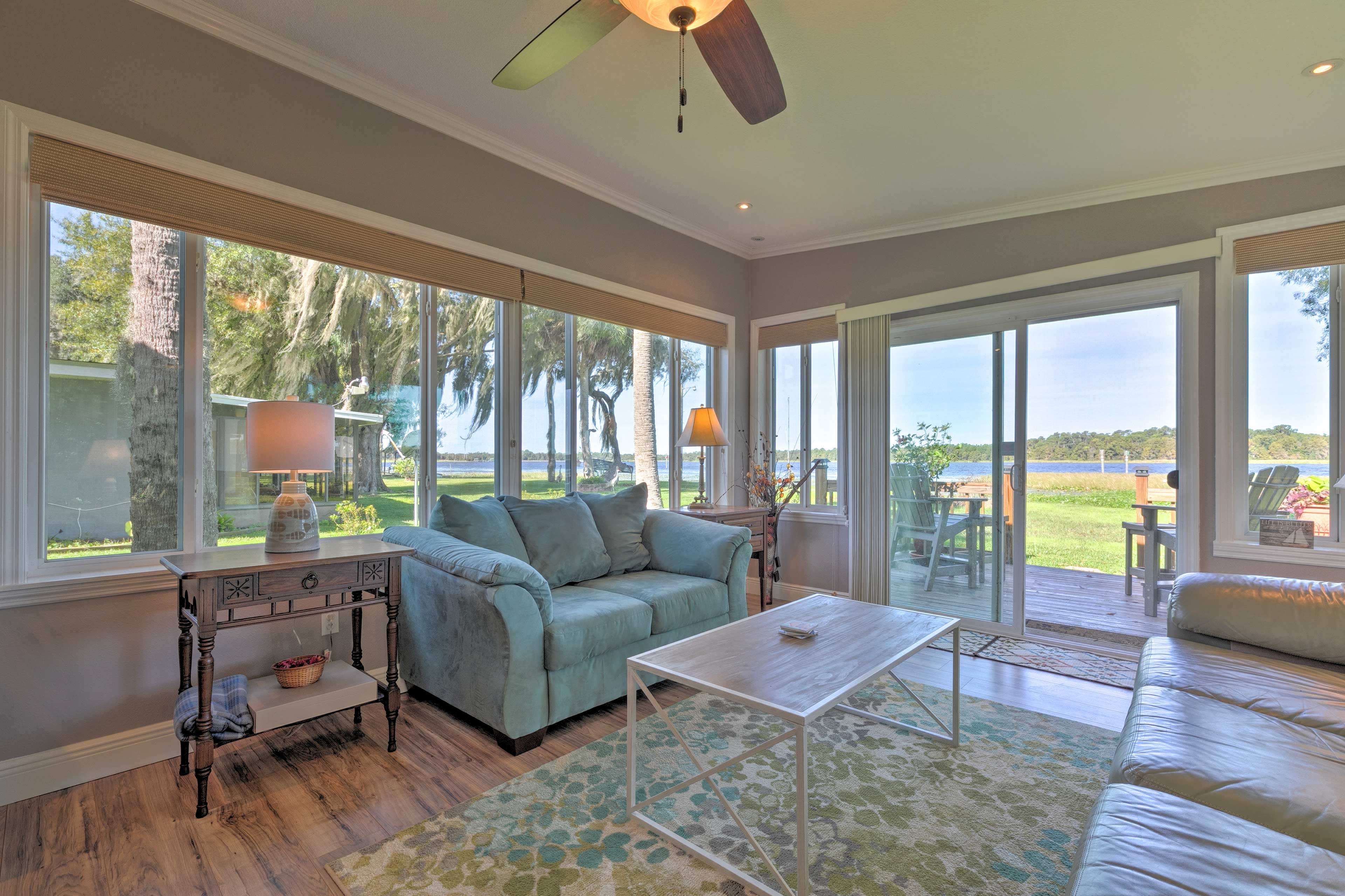 Admire 180-degree water views from the sunroom as you take it easy!