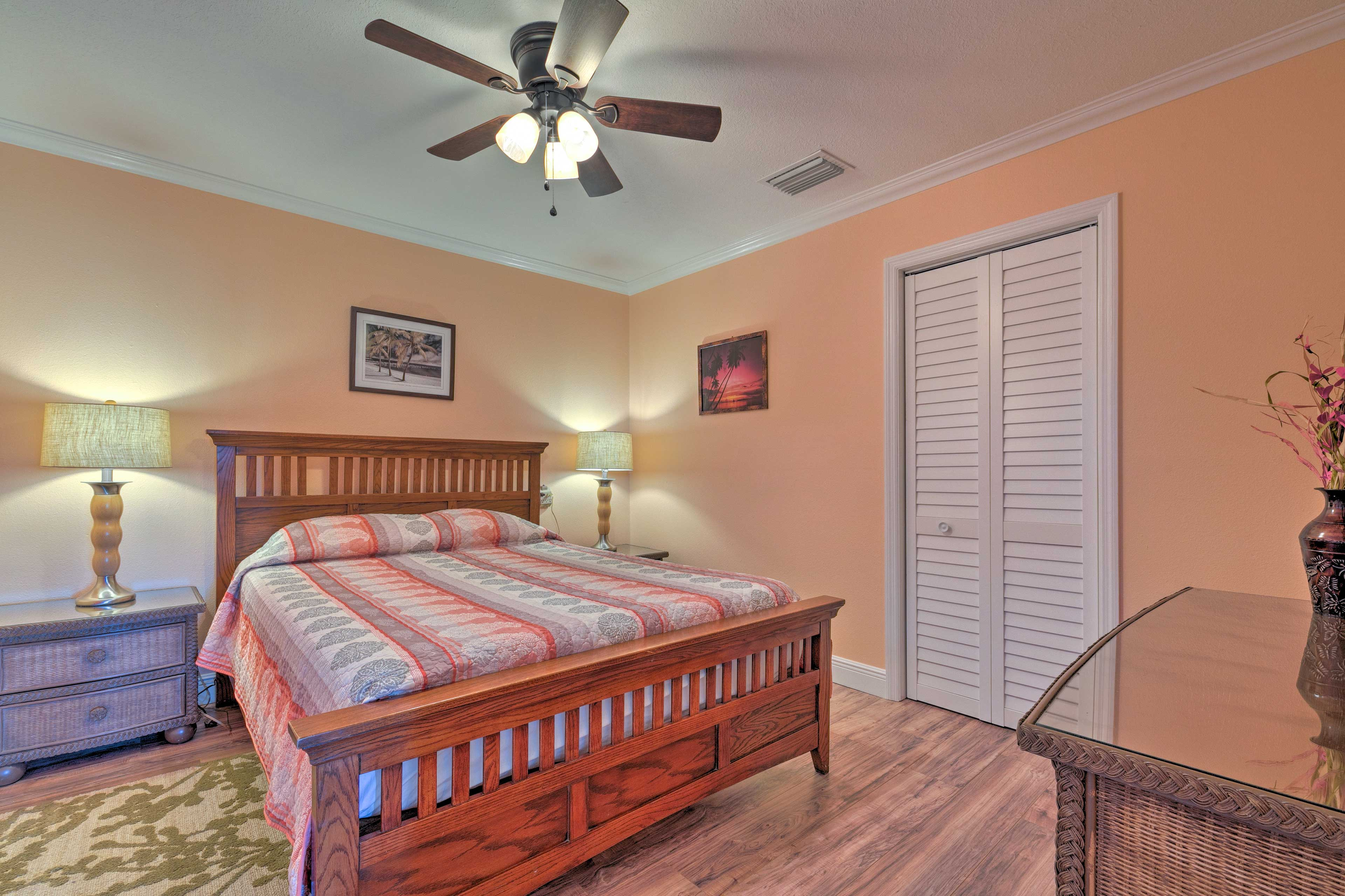 A queen bed also furnishes the second bedroom.