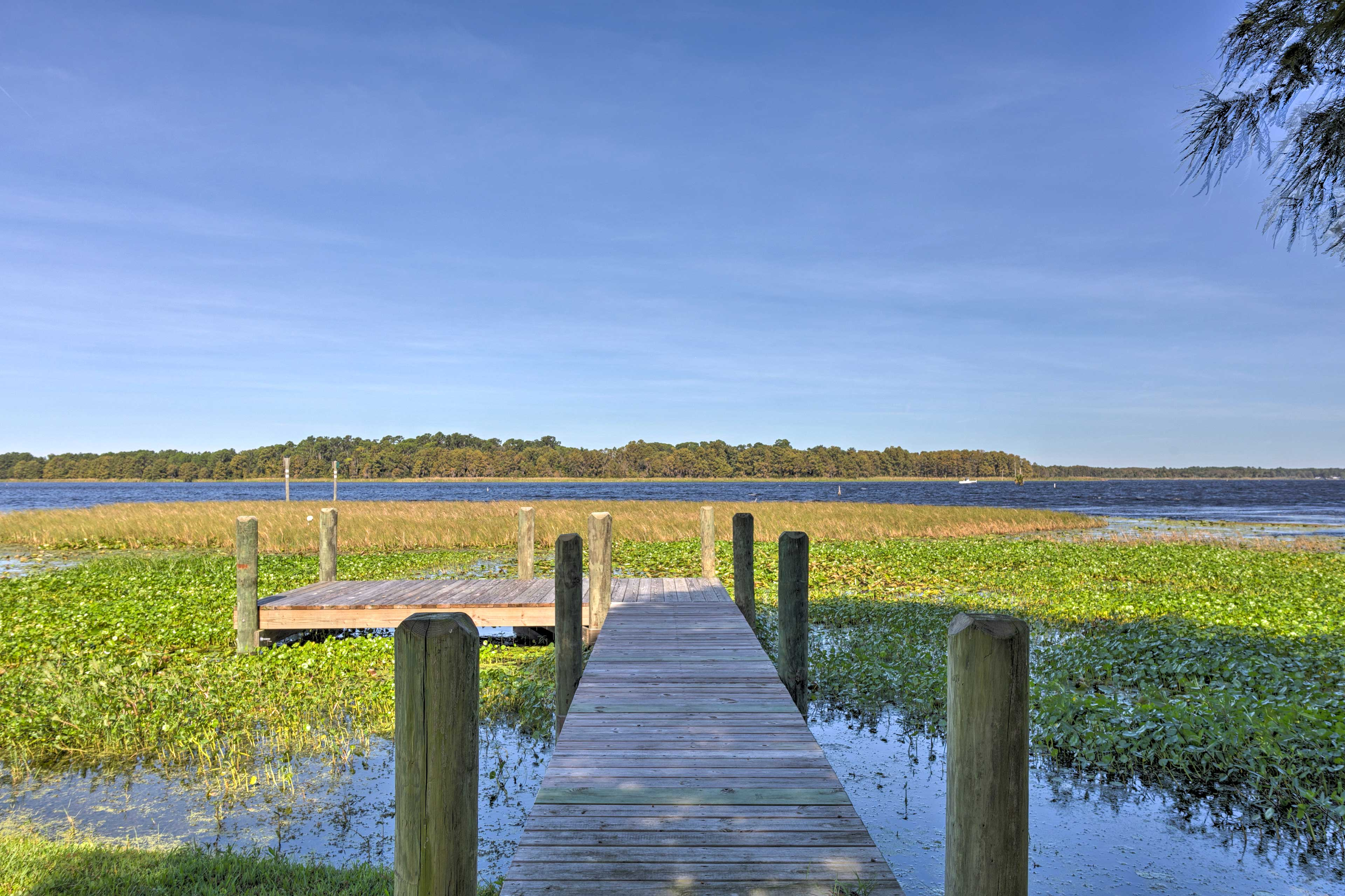 Stroll down the private dock to kayak or paddleboard.