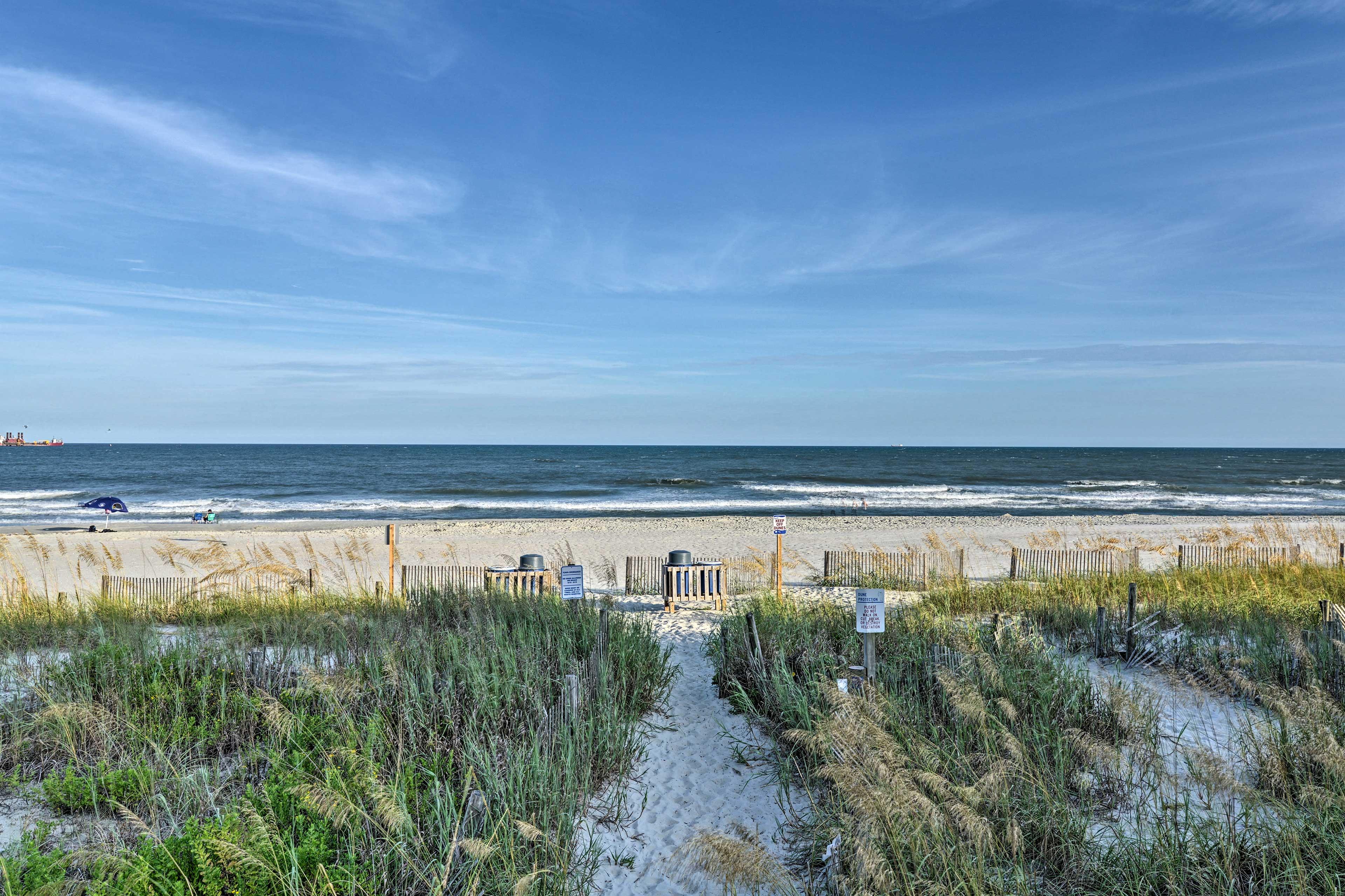 Sunbathe, build sandcastles, and enjoy long strolls by the ocean!