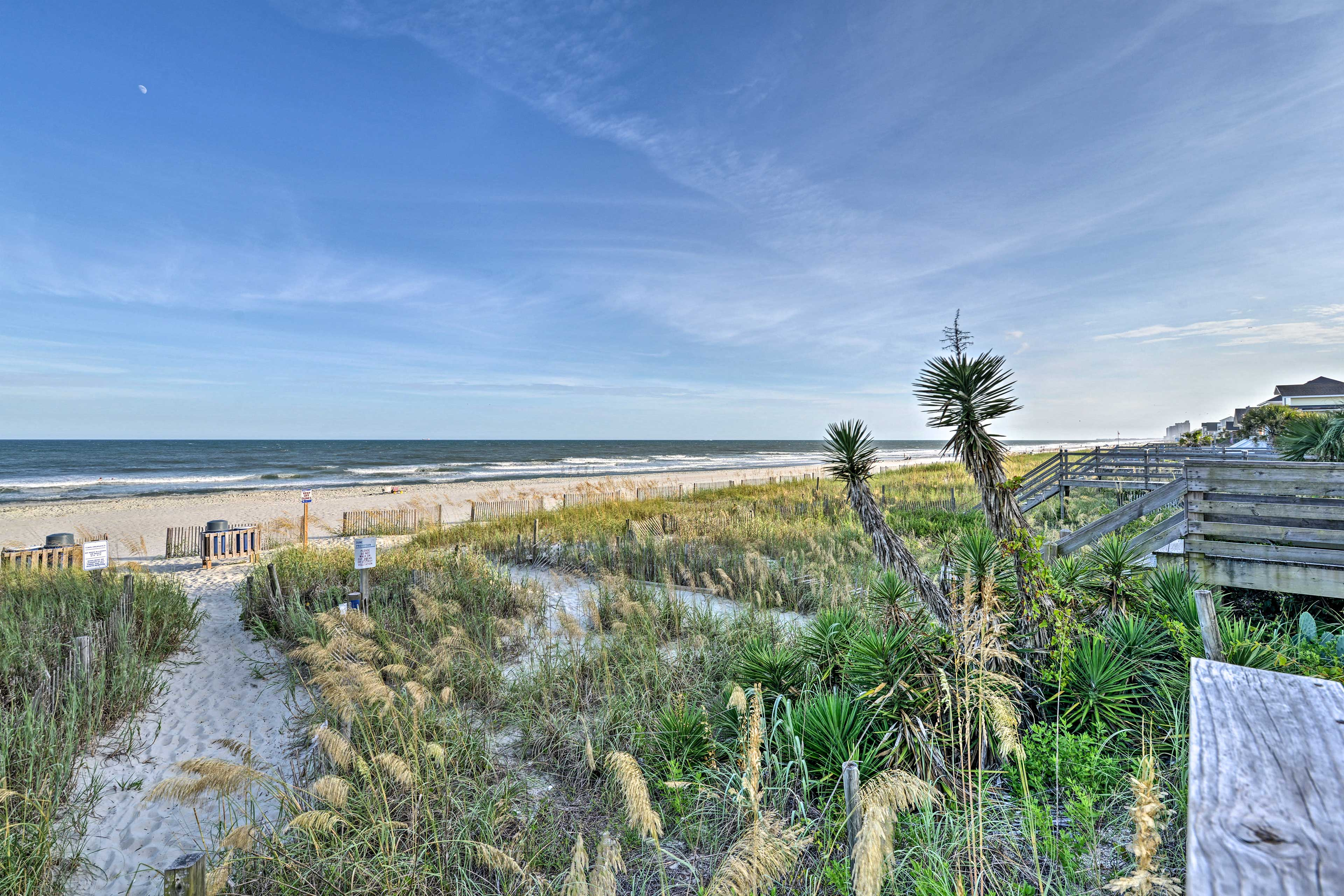This first-floor unit is just a block away from the beach.