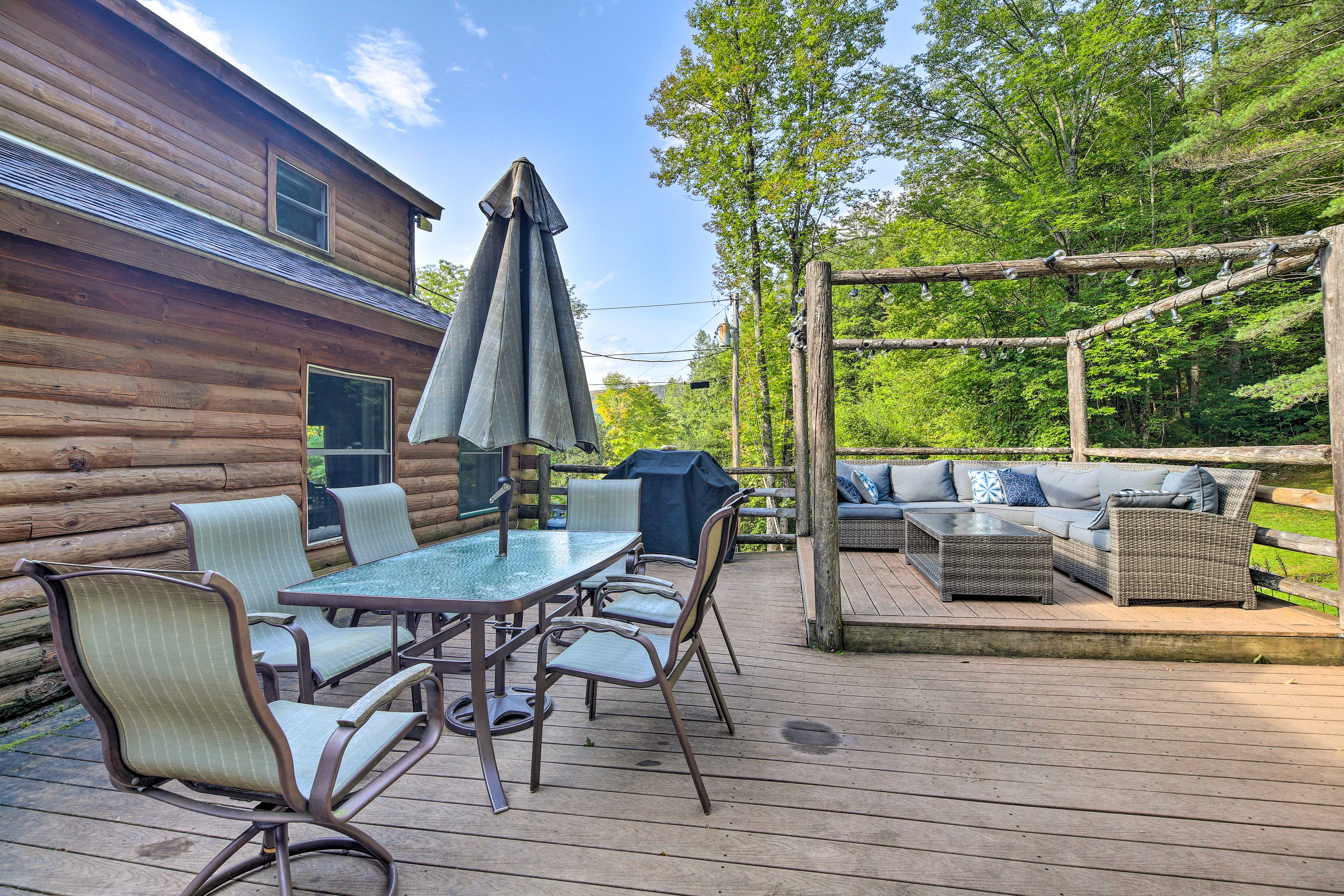 The back deck was recently updated for optimal comfort.