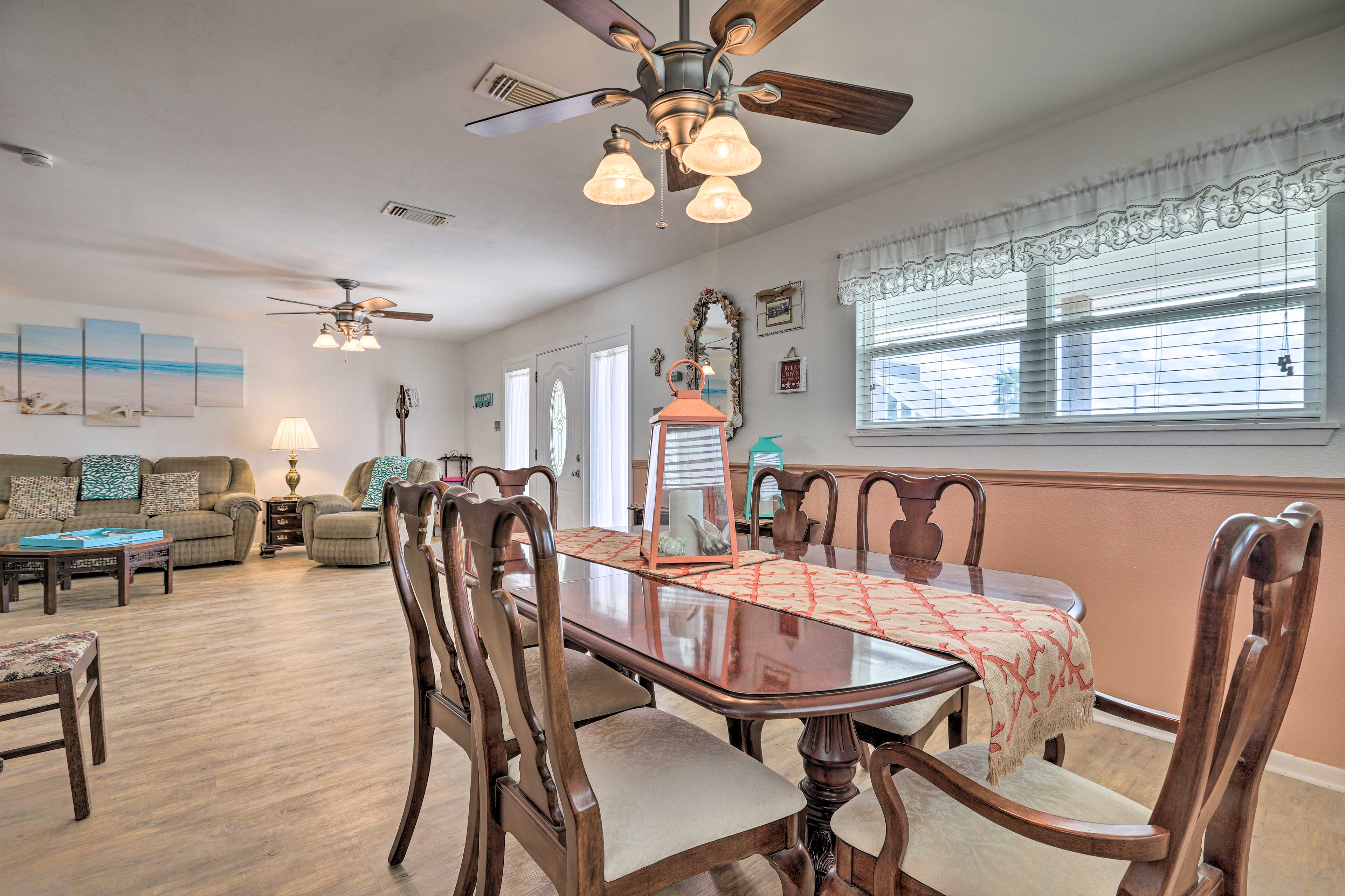 The open layout of this home is the perfect setting for enjoying group meals.