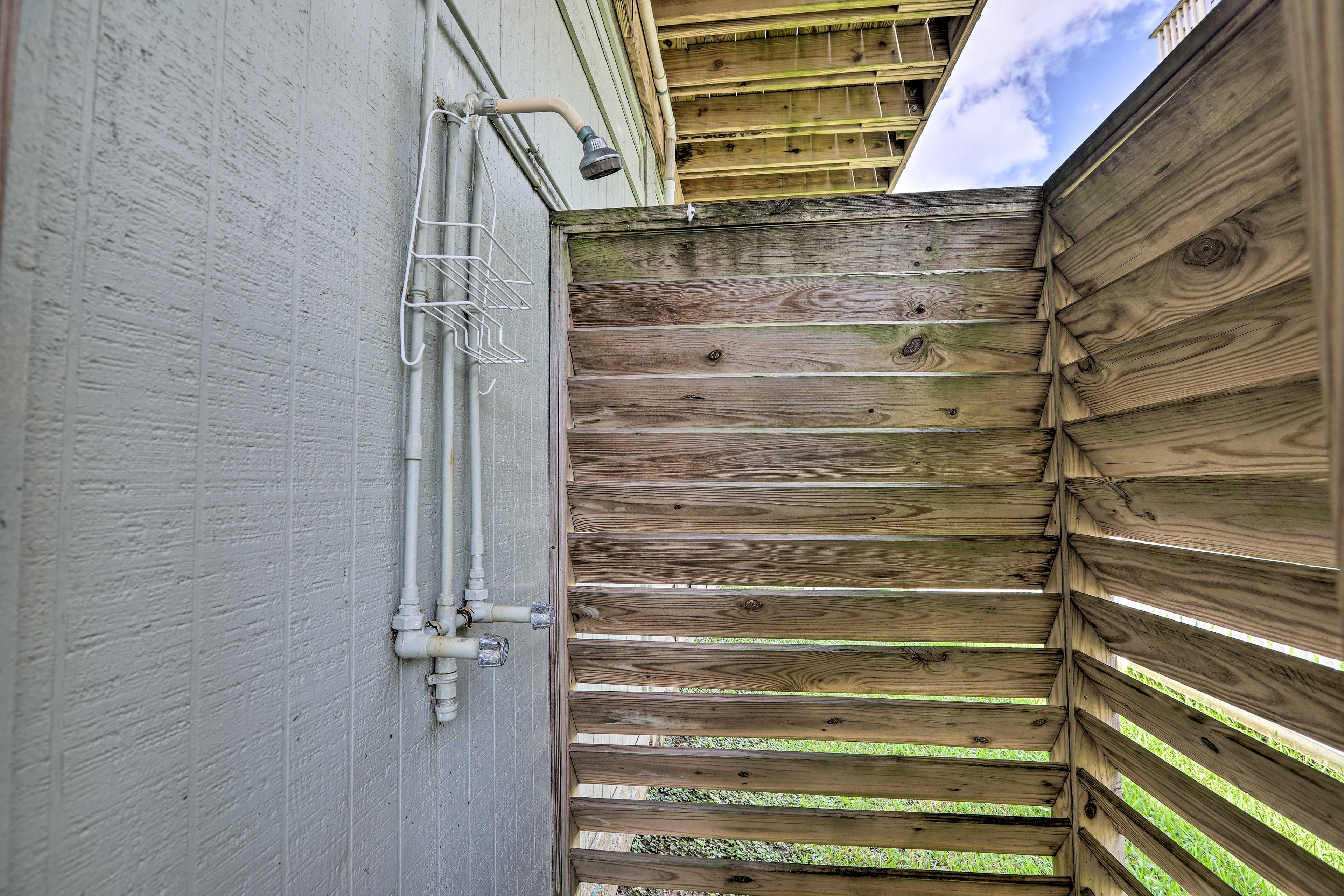 This home offers a private outdoor shower!