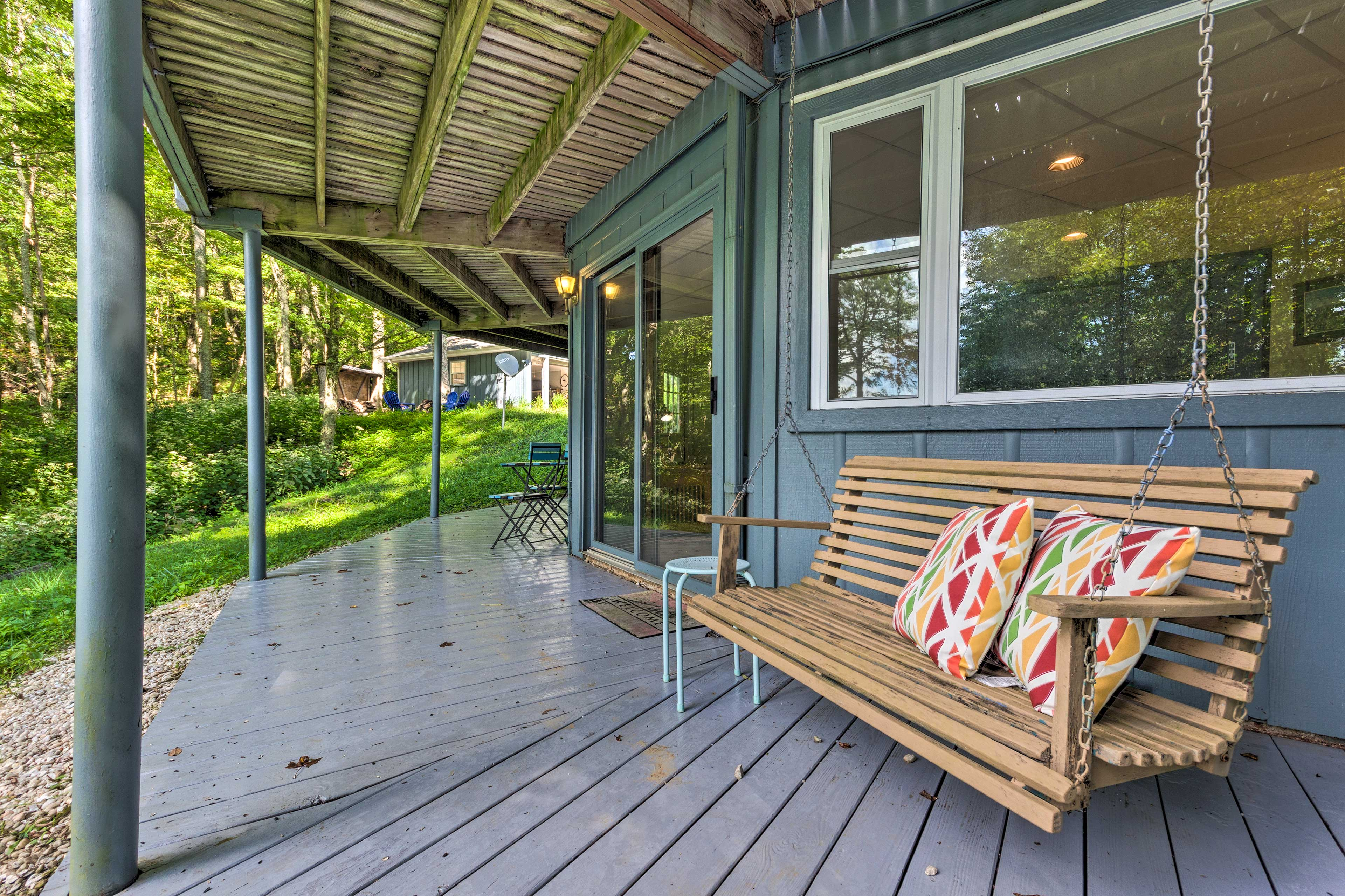 If you can't sit still, come to the lower porch to swing.