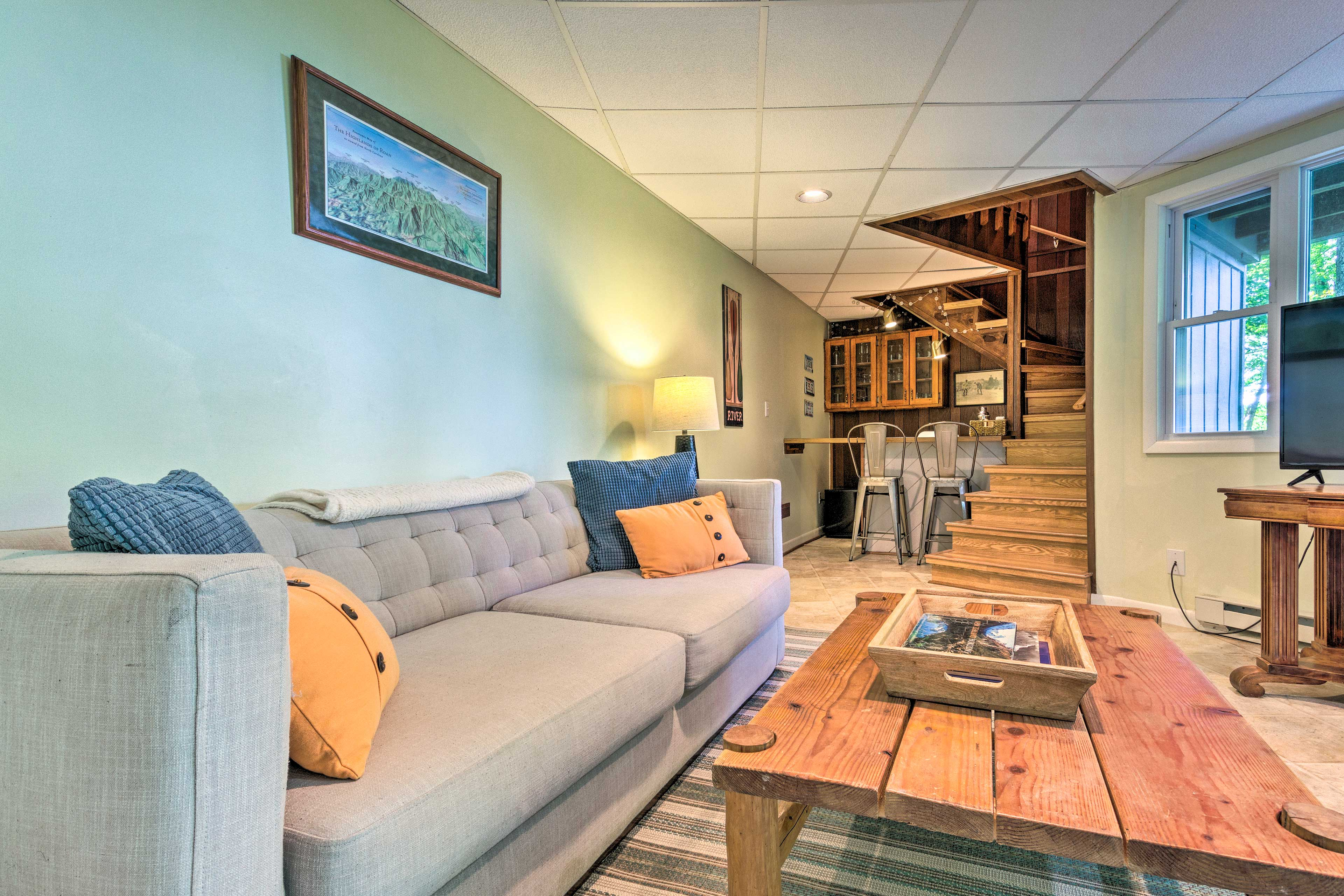 The downstairs living area is a great place to congregate.