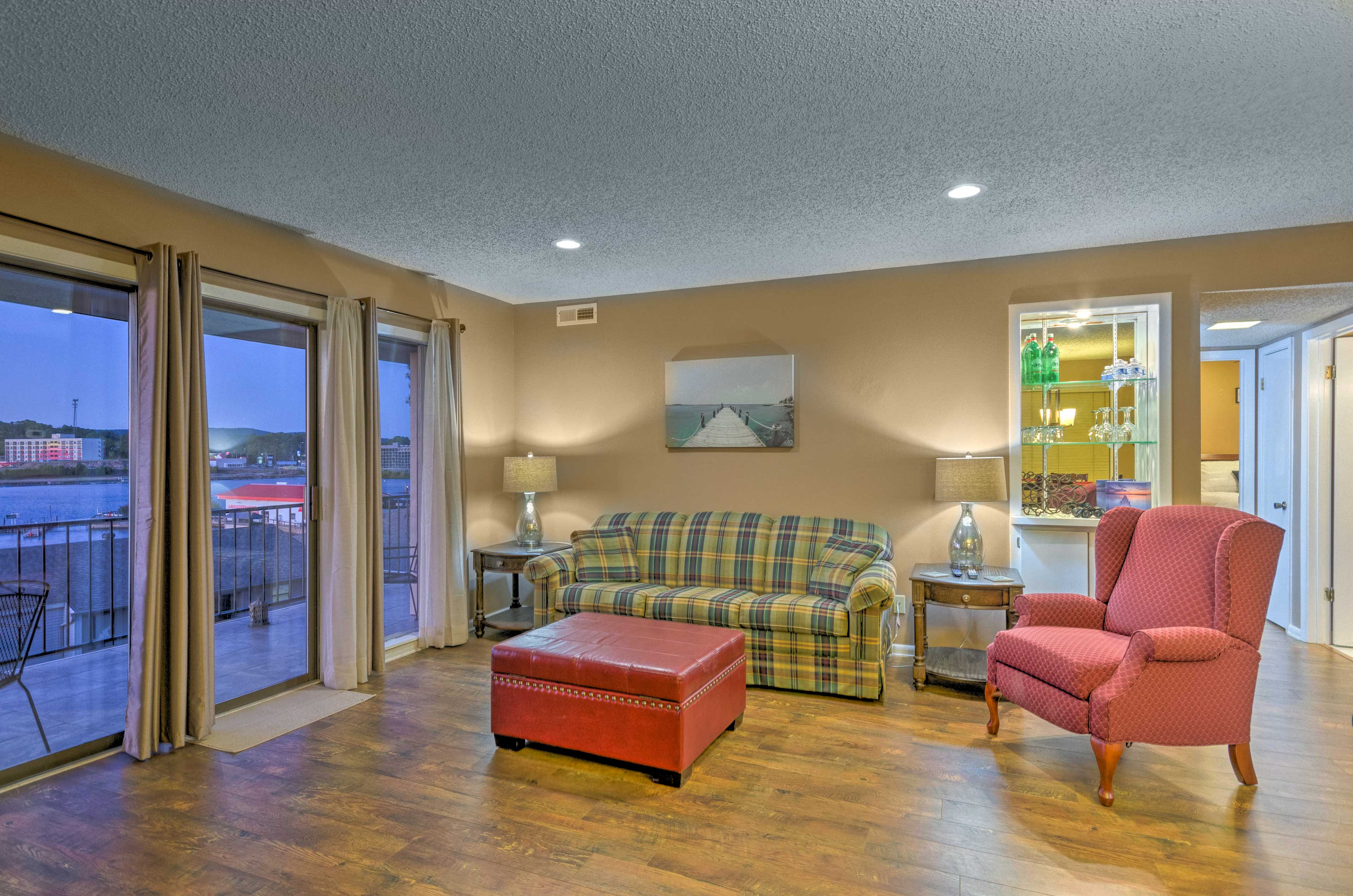 You'll have lake views from the cozy couch.