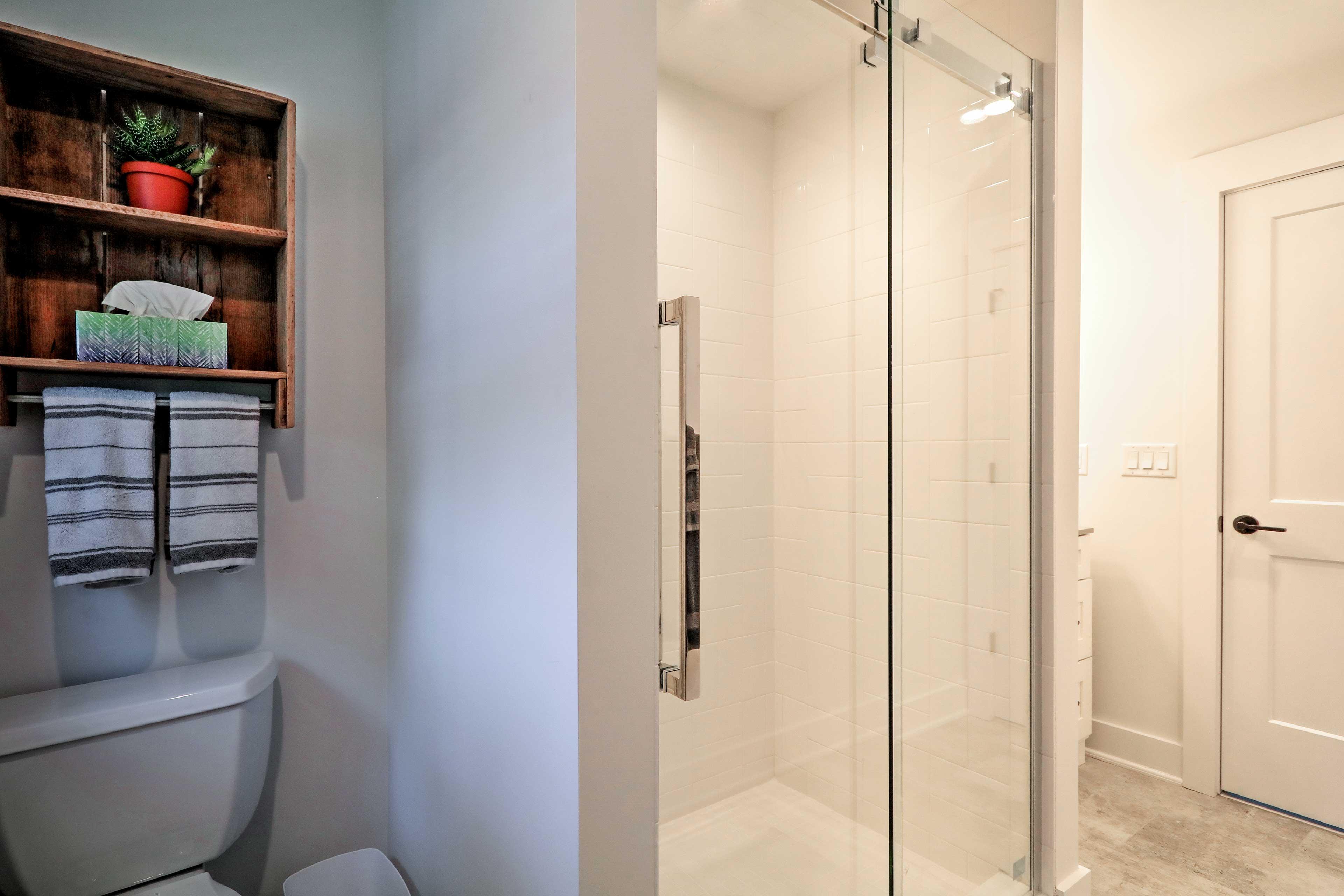 Rinse off in the pristine walk-in shower!
