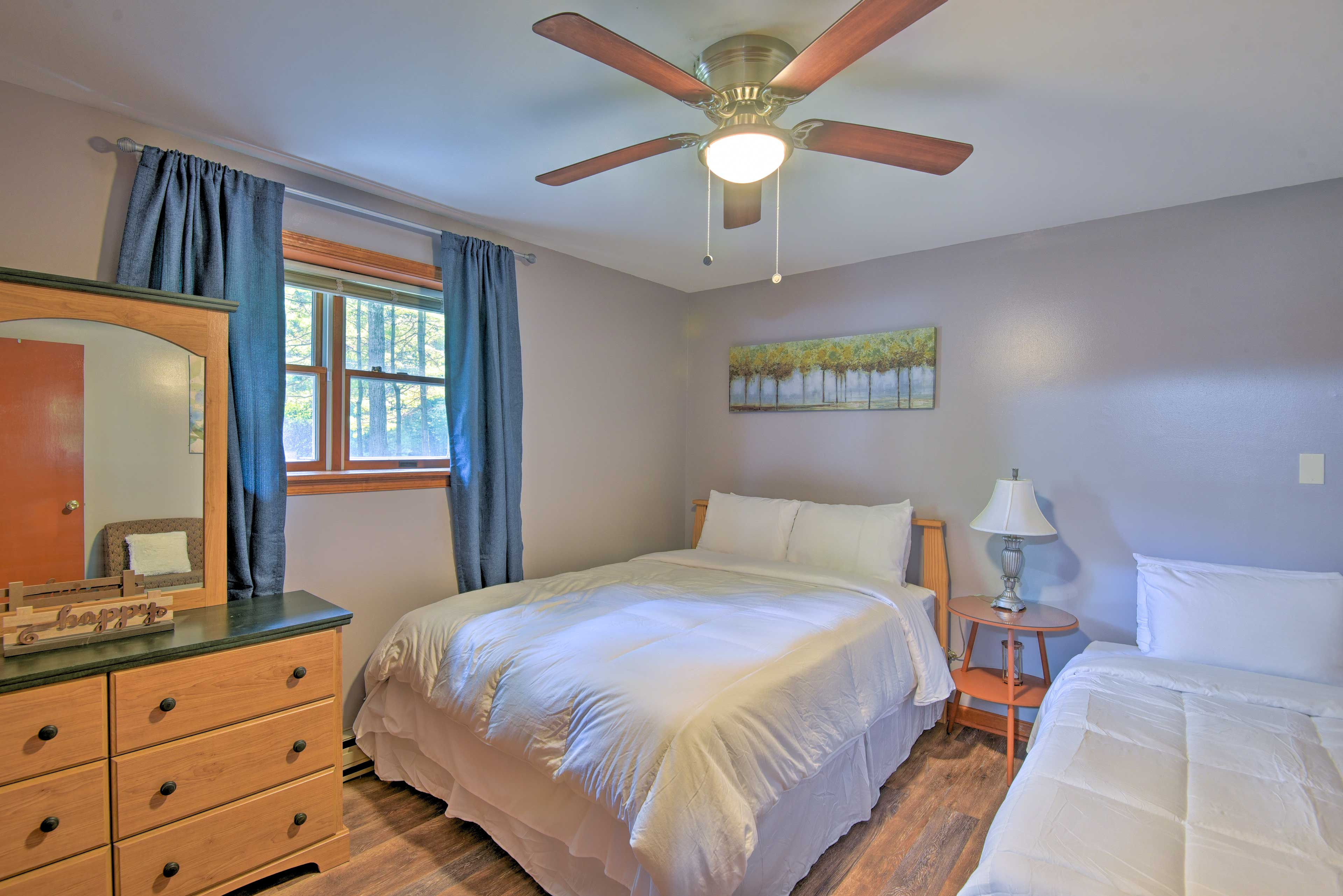 This bedroom will sleep 3 with a full and twin-sized bed.