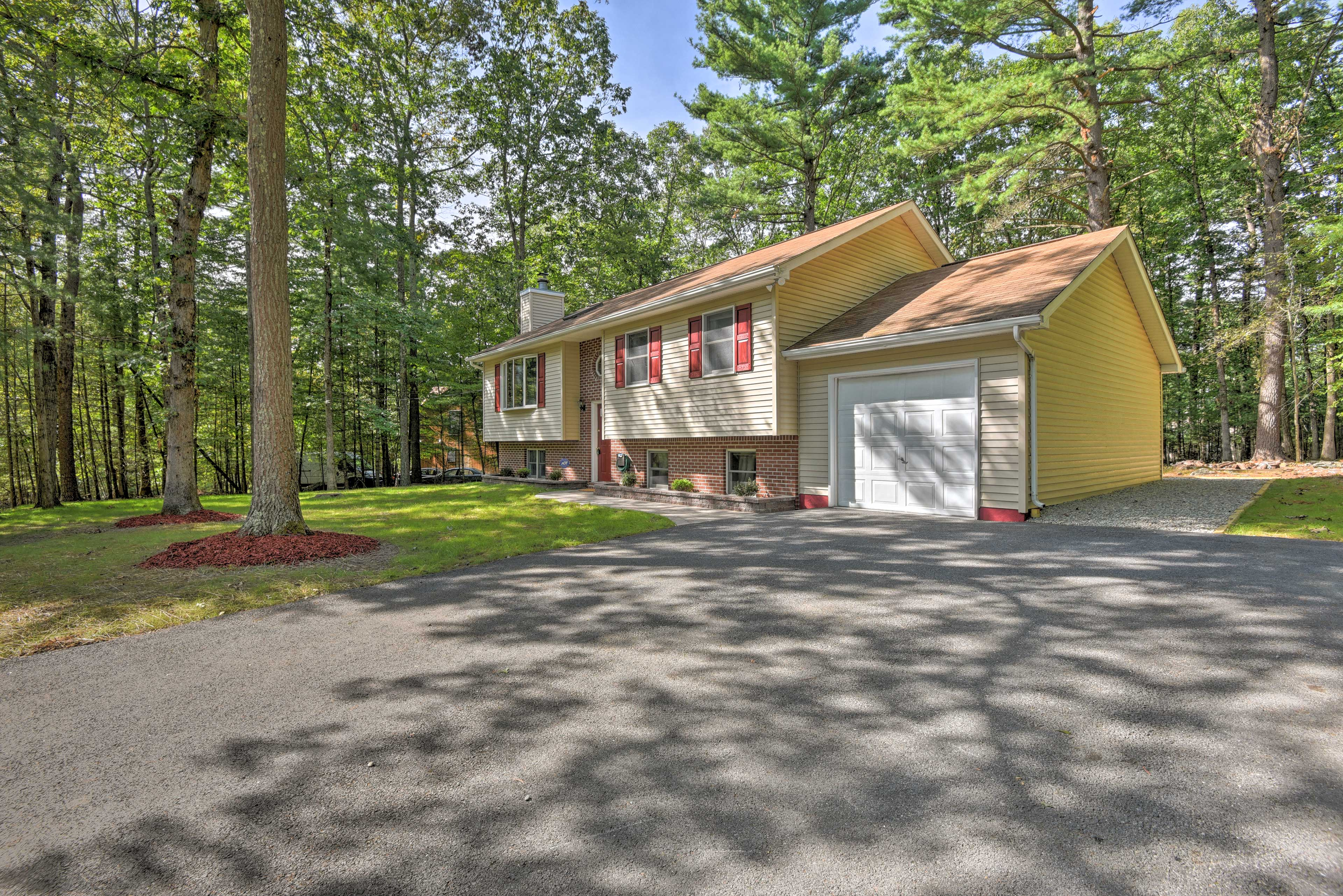 Explore the Poconos while staying at this 4-bedroom, 2-bathroom vacation rental.